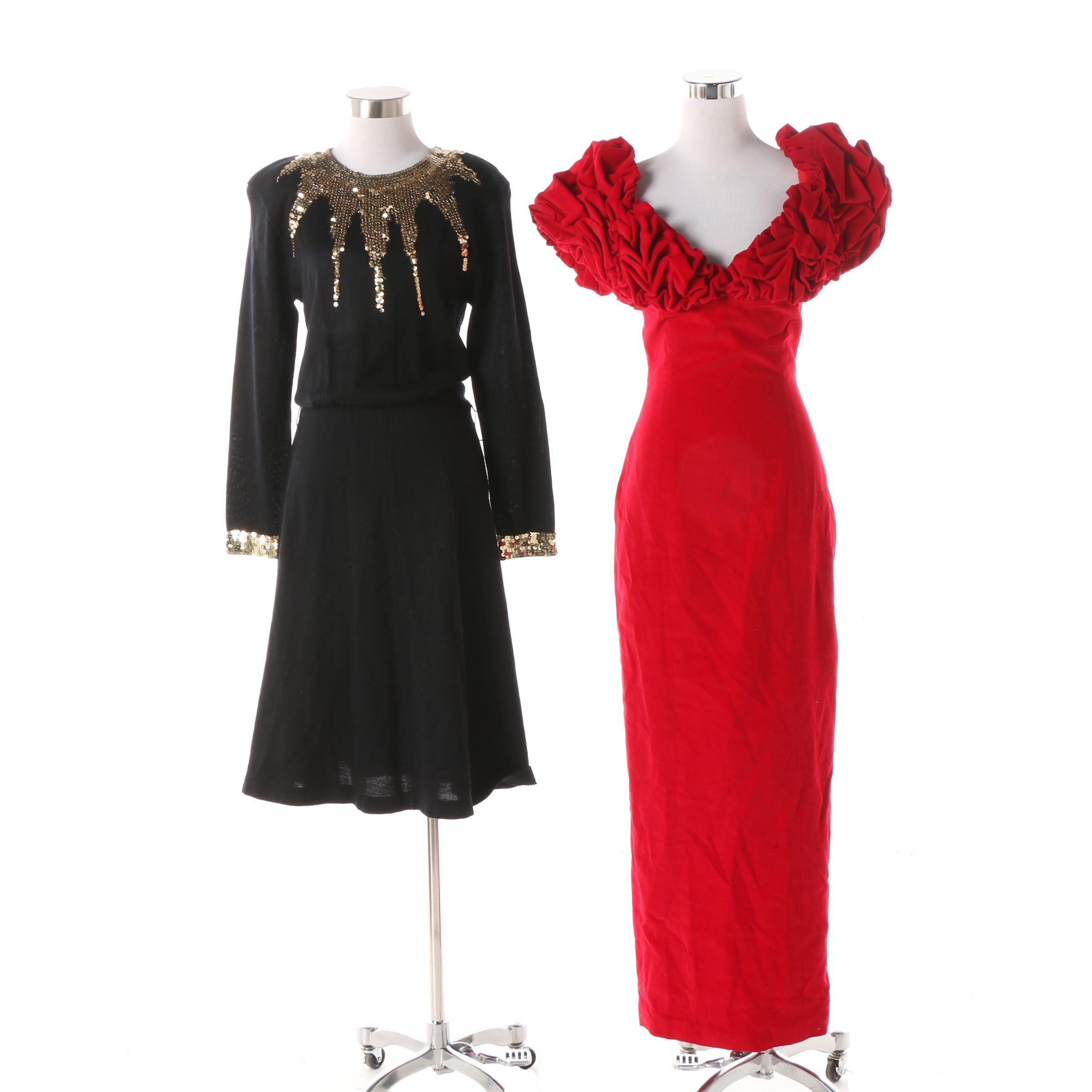 Circa 1980s Velvet and Wool Blend Evening Dresses