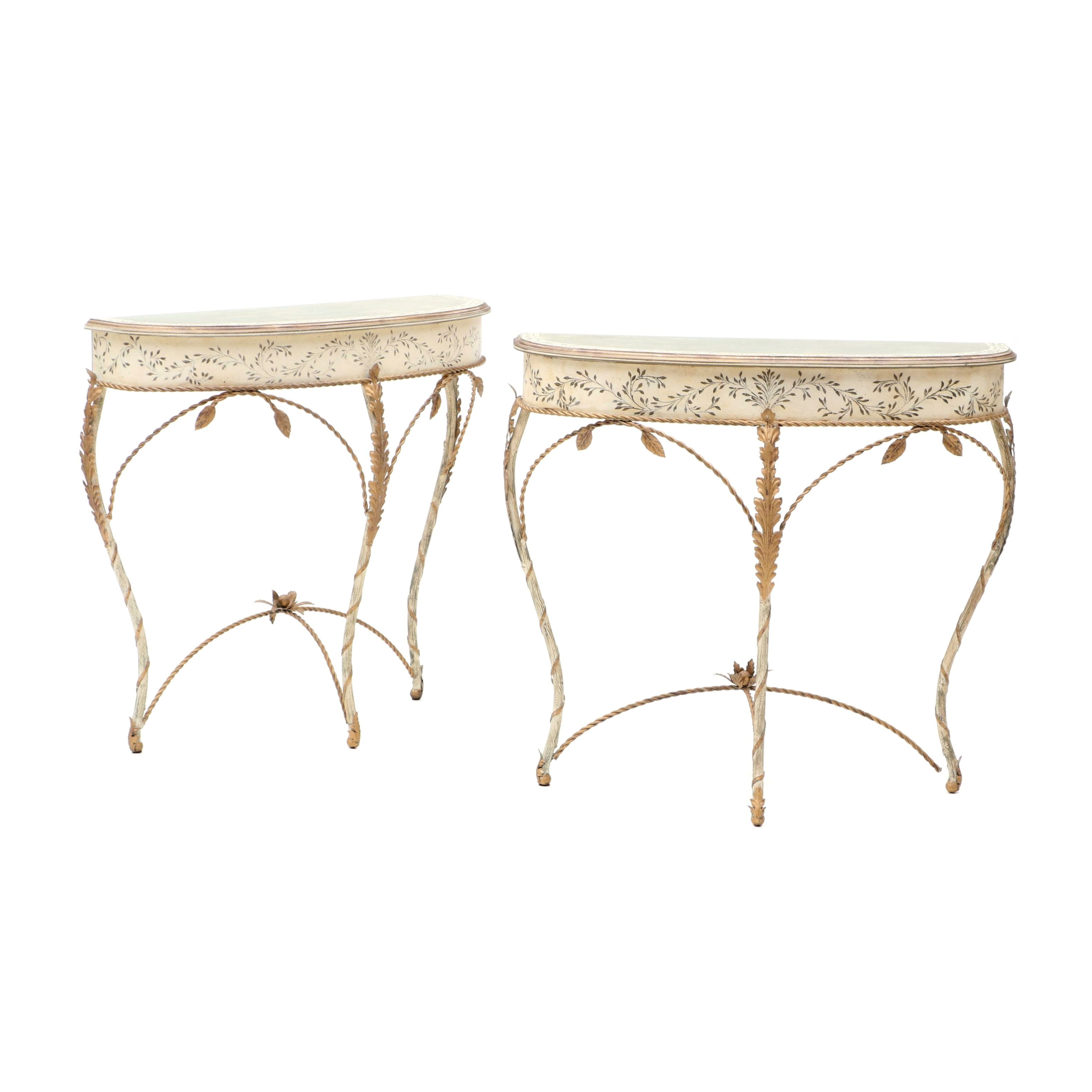 Pair of Painted Wood and Metal Console Tables, 20th Century