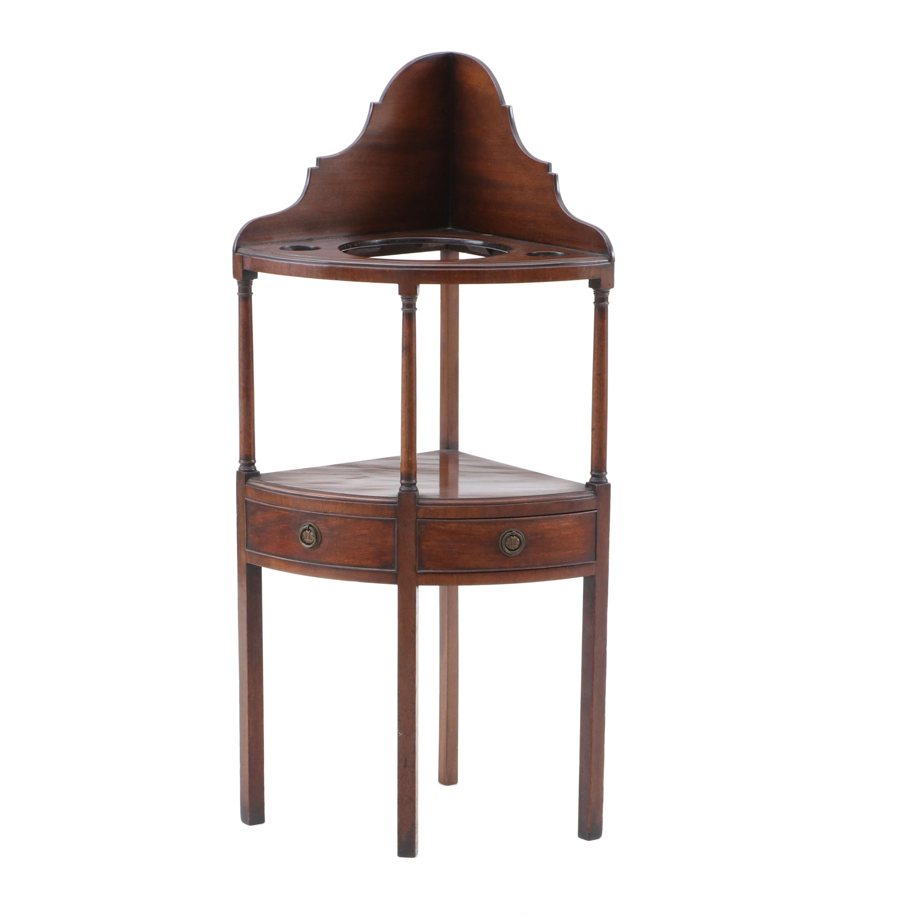 Federal Mahogany Corner Washstand, Early 19th Century