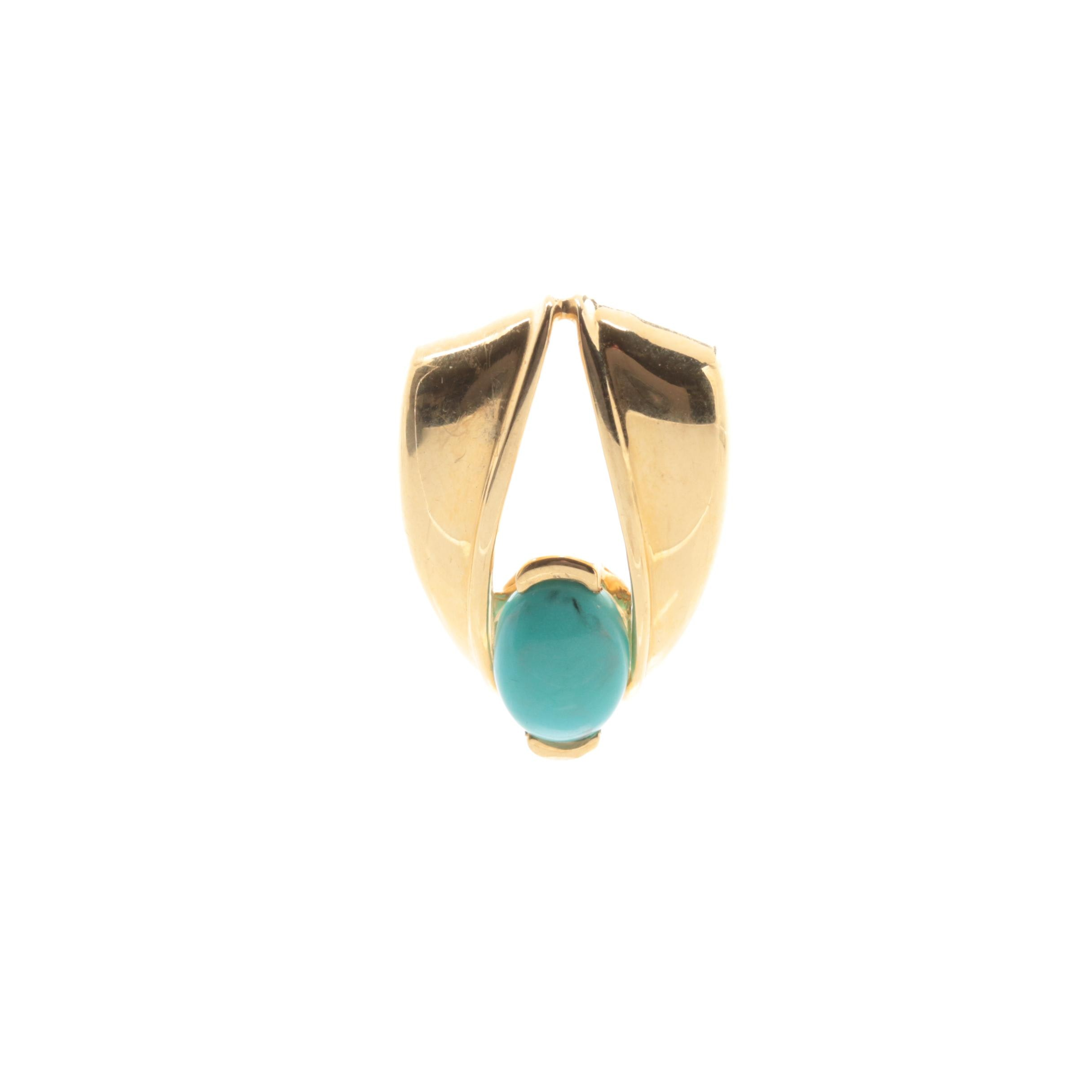 18K Yellow Gold Turquoise Pendant