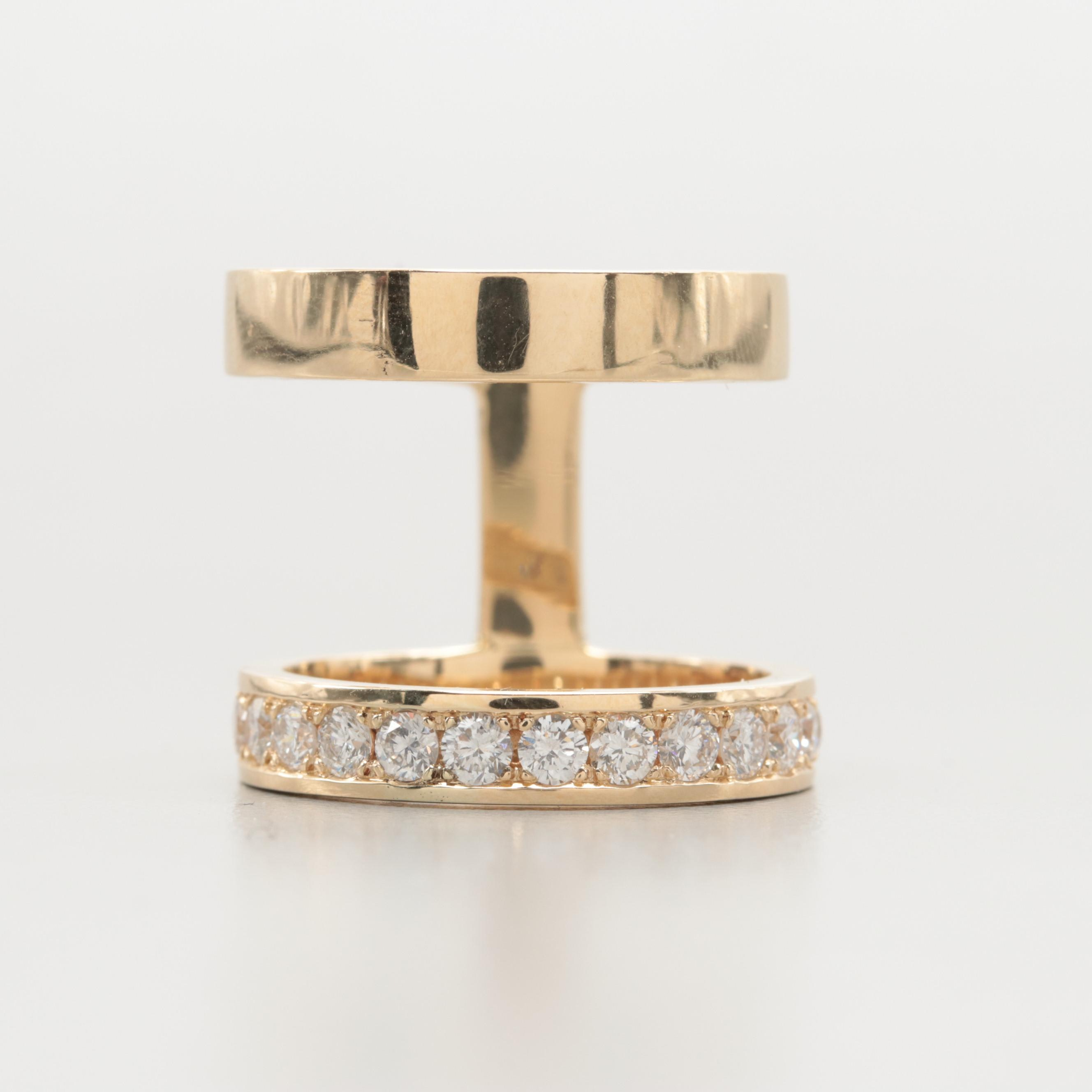 14K Yellow Gold 1.14 CTW Diamond Double Ring