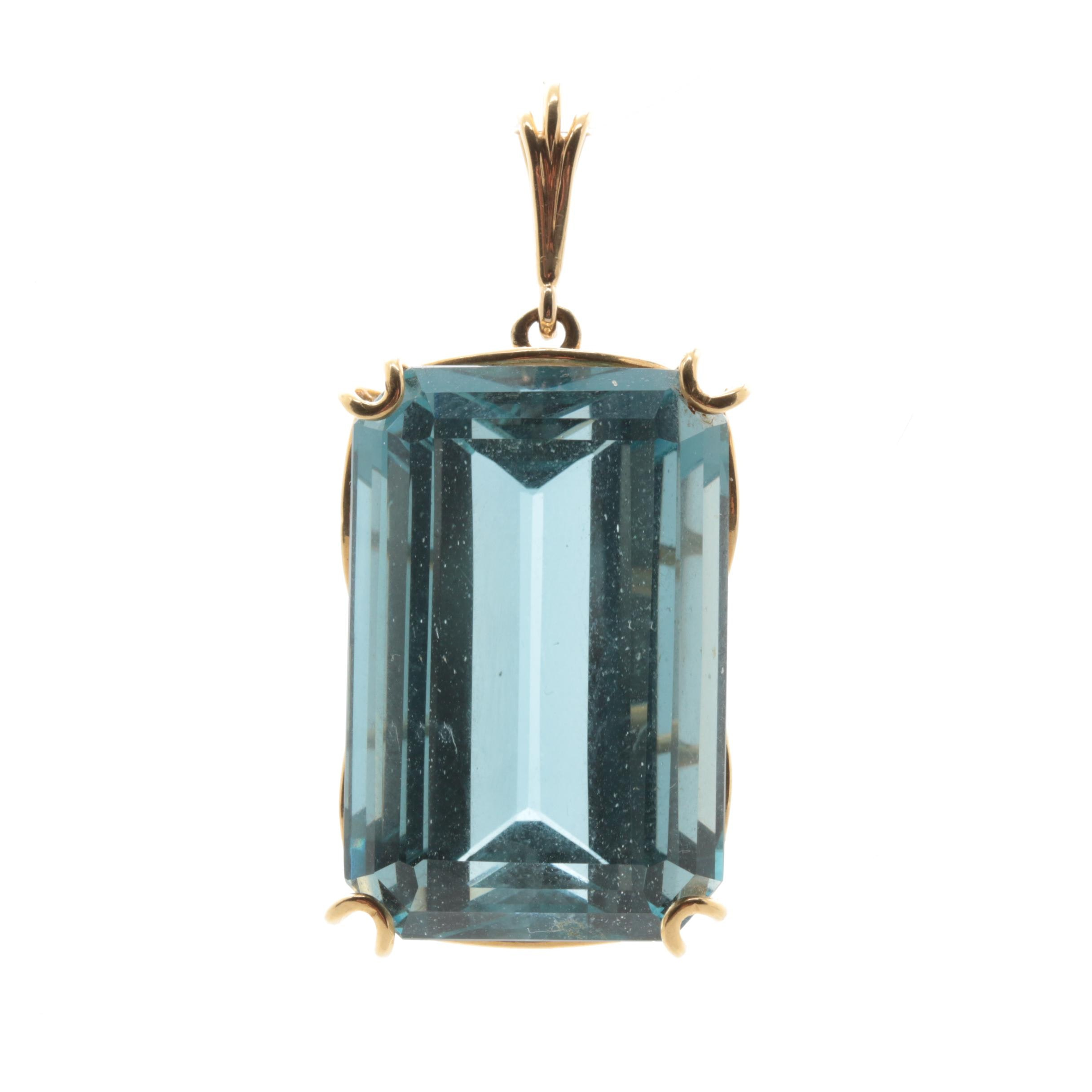 18K Yellow Gold 67.37 CT Blue Topaz Pendant