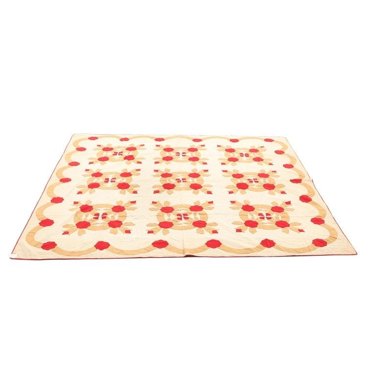 """Handmade """"Apple Blossom"""" Applique Quilt"""