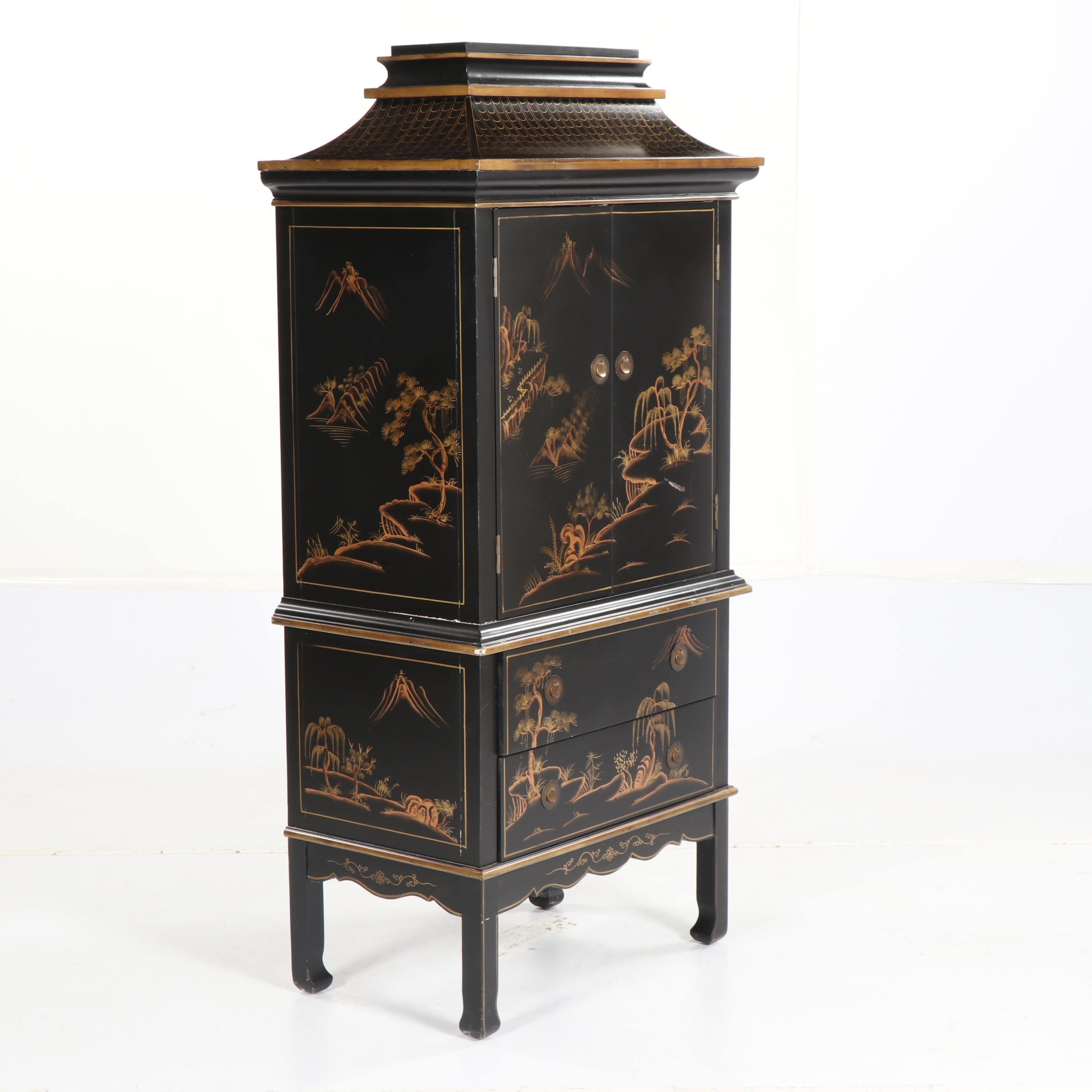 Asian Inspired Painted Wooden Chest of Drawers, 21st Century