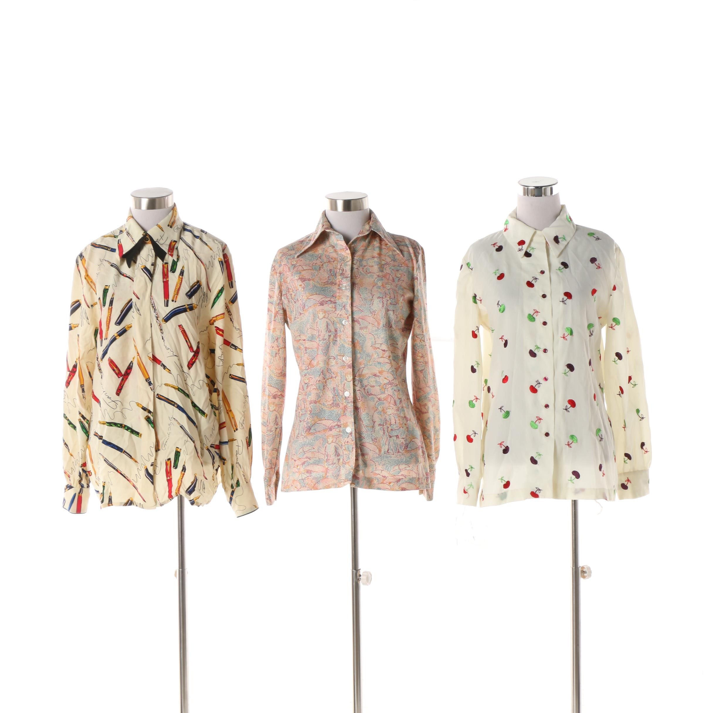 Circa 1970s and 1980s Patterned Blouses