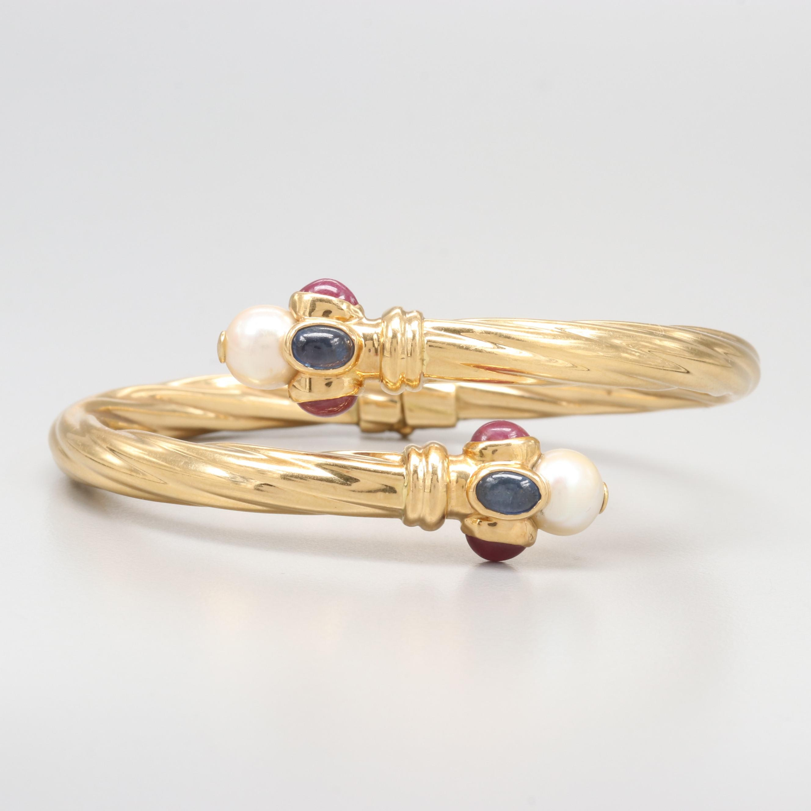 Italian 18K Yellow Gold Cultured Pearl, Ruby and Blue Sapphire Bypass Bracelet