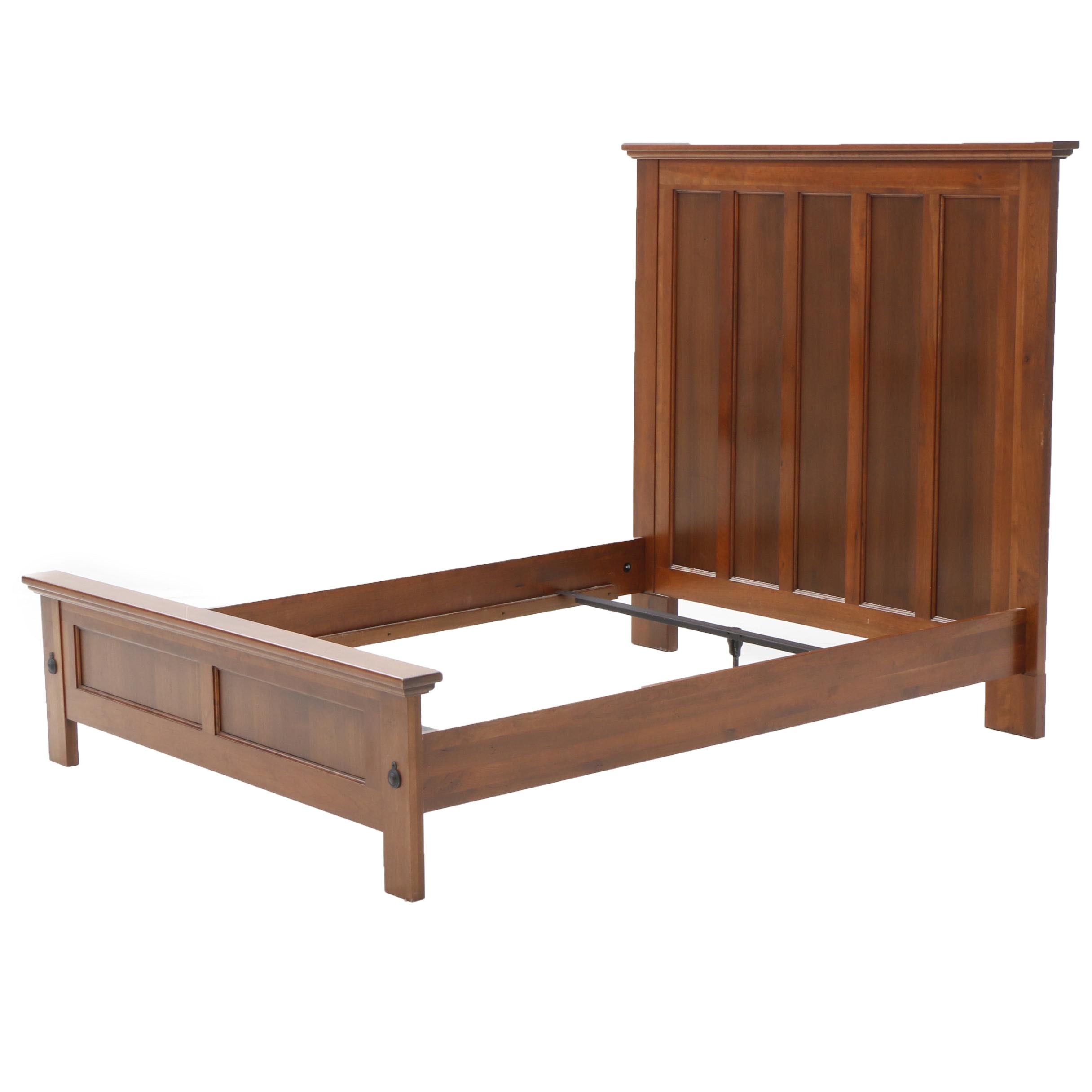 Mission Style Mahogany Veneer Queen Bed Frame, Late 20th Century