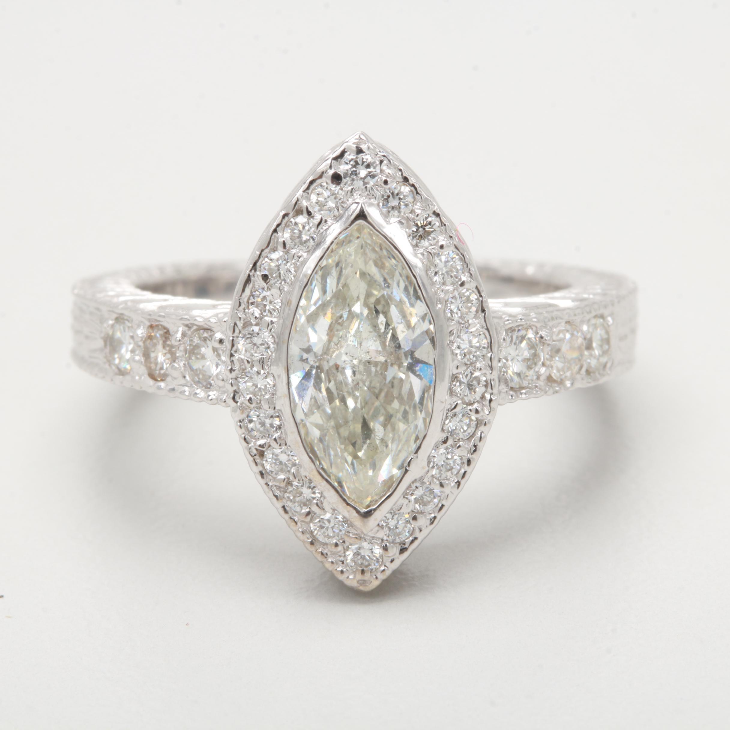 14K White Gold 1.00 CT Marquise Center Diamond Ring with GIA Diamond Dossier