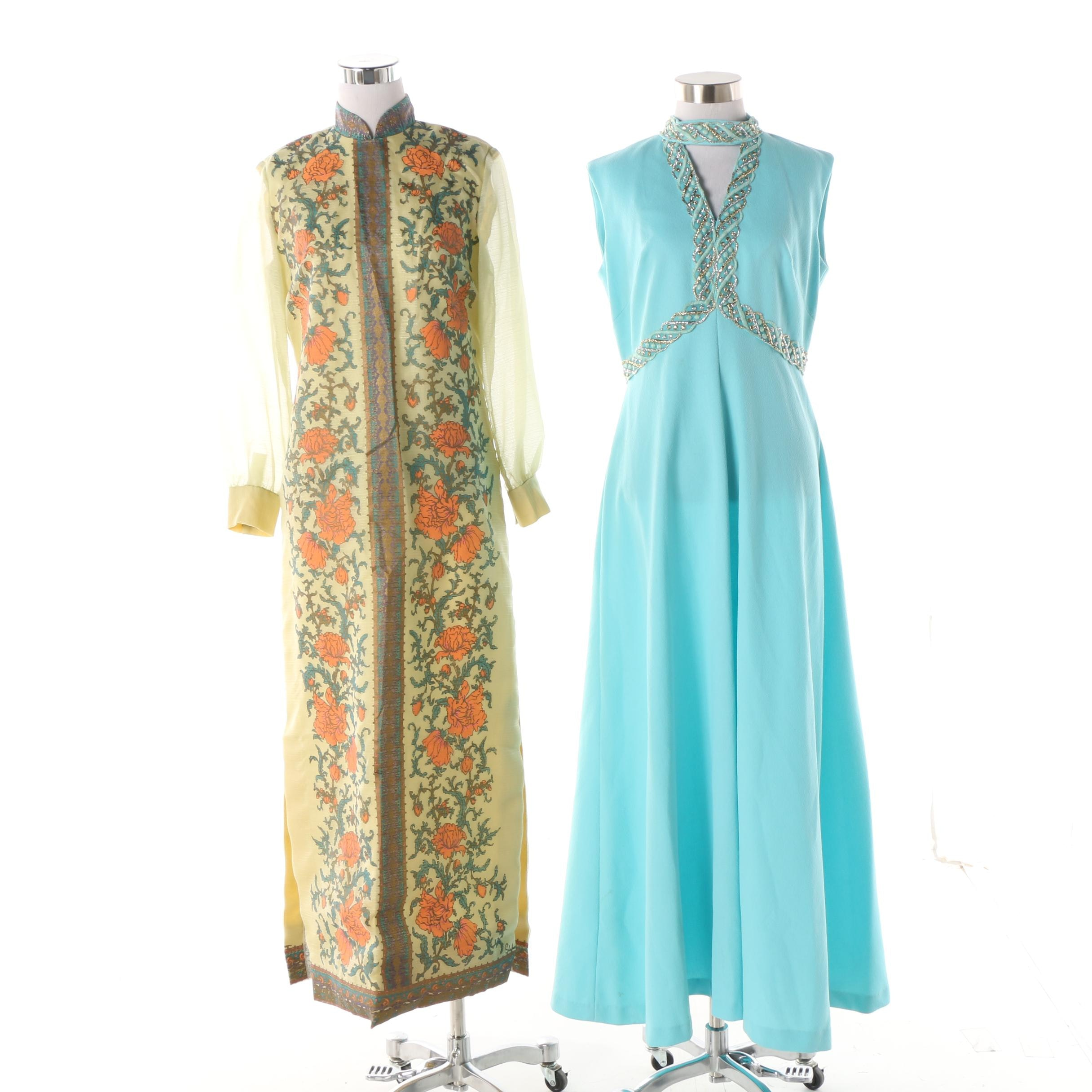 Circa 1970s Alfred Shaheen Screen Print and Unlabeled Embroidered Maxi Dresses