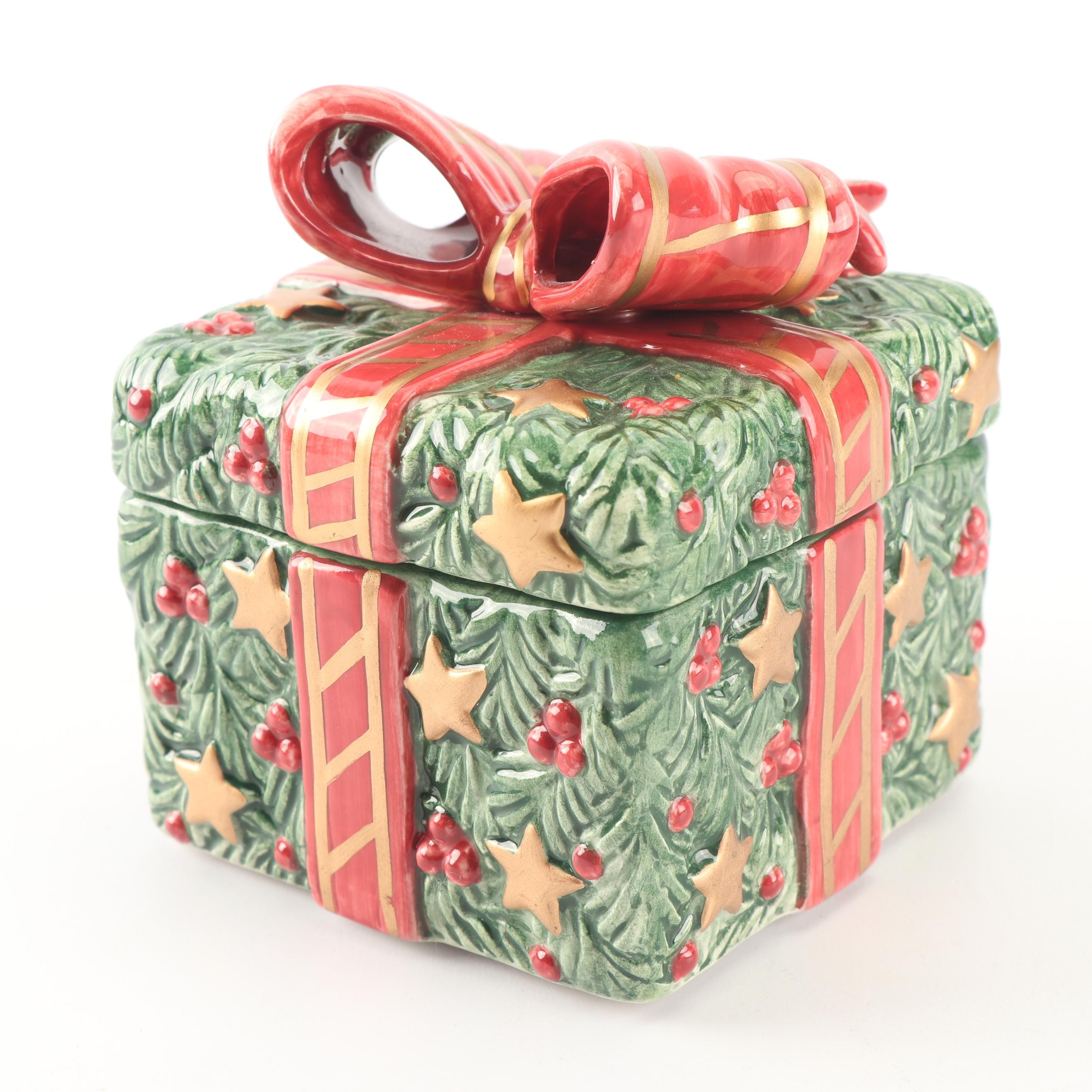 """Fitz and Floyd """"Toy Wreath"""" Square Box with Lid"""