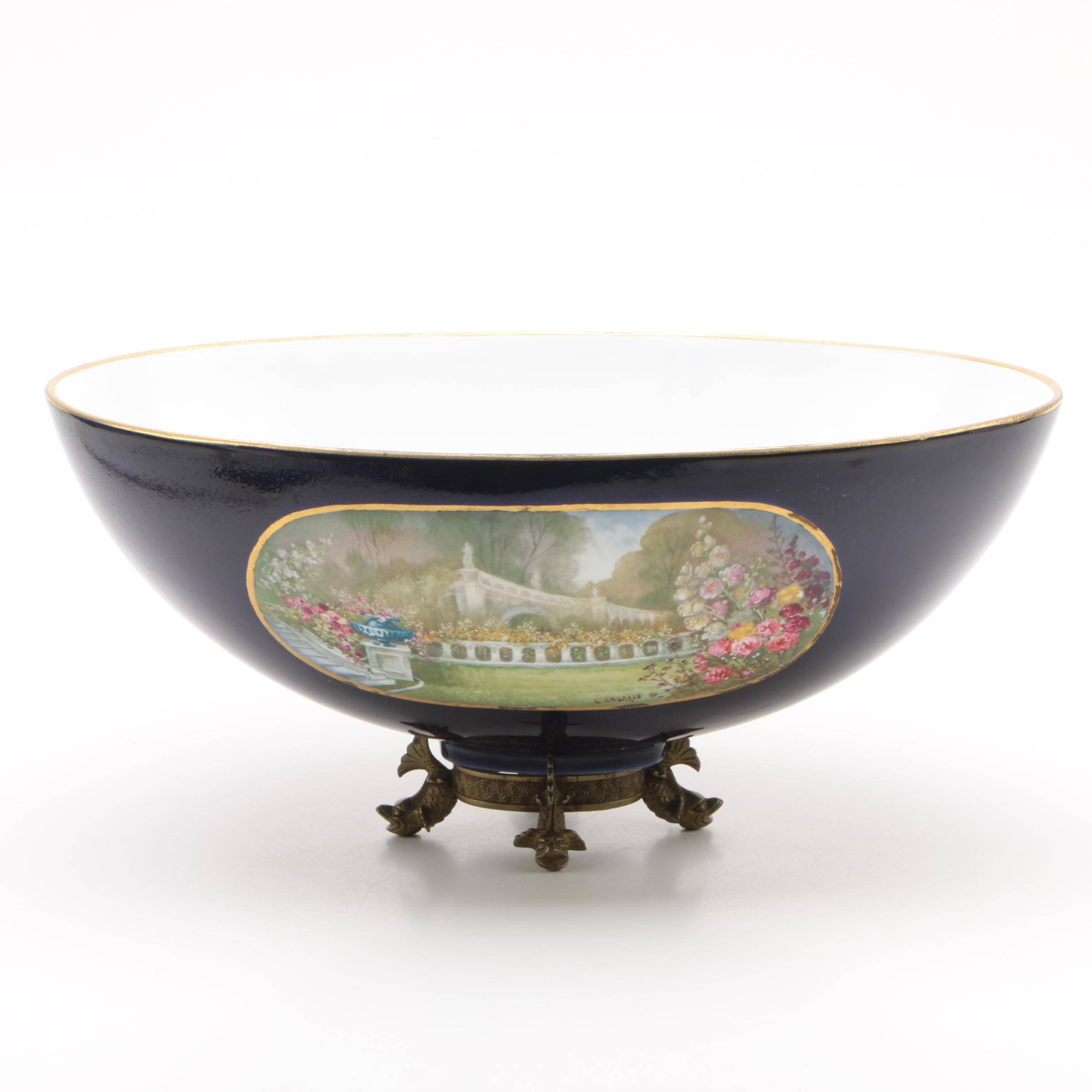 """Limoges Style Porcelain Centerpiece Bowl with Stand, Signed """"L. Lagrave"""""""