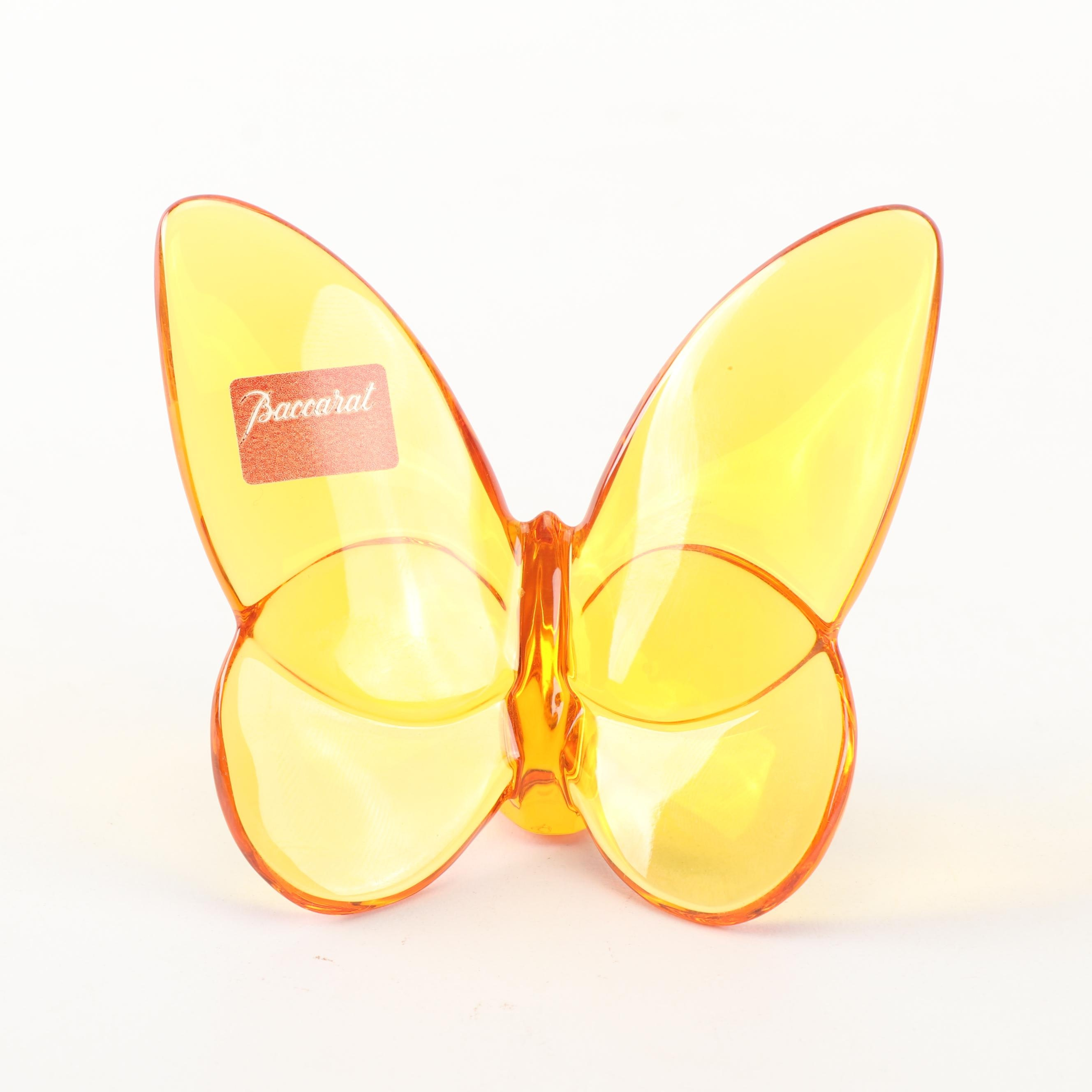 "Baccarat Crystal ""Lucky Butterfly"" Figurine in Amber"