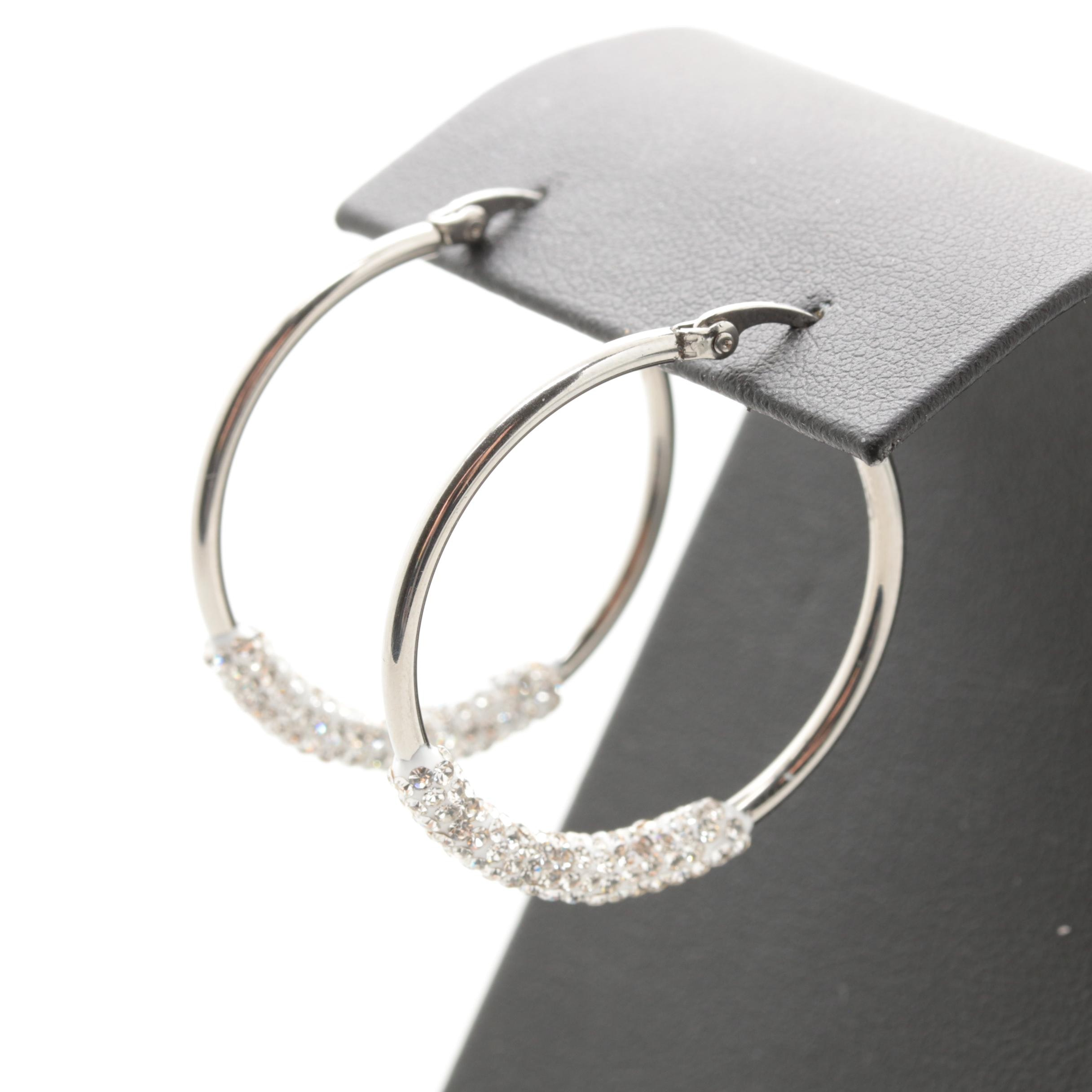 Silver Tone Foilback Glass Hoop Earrings