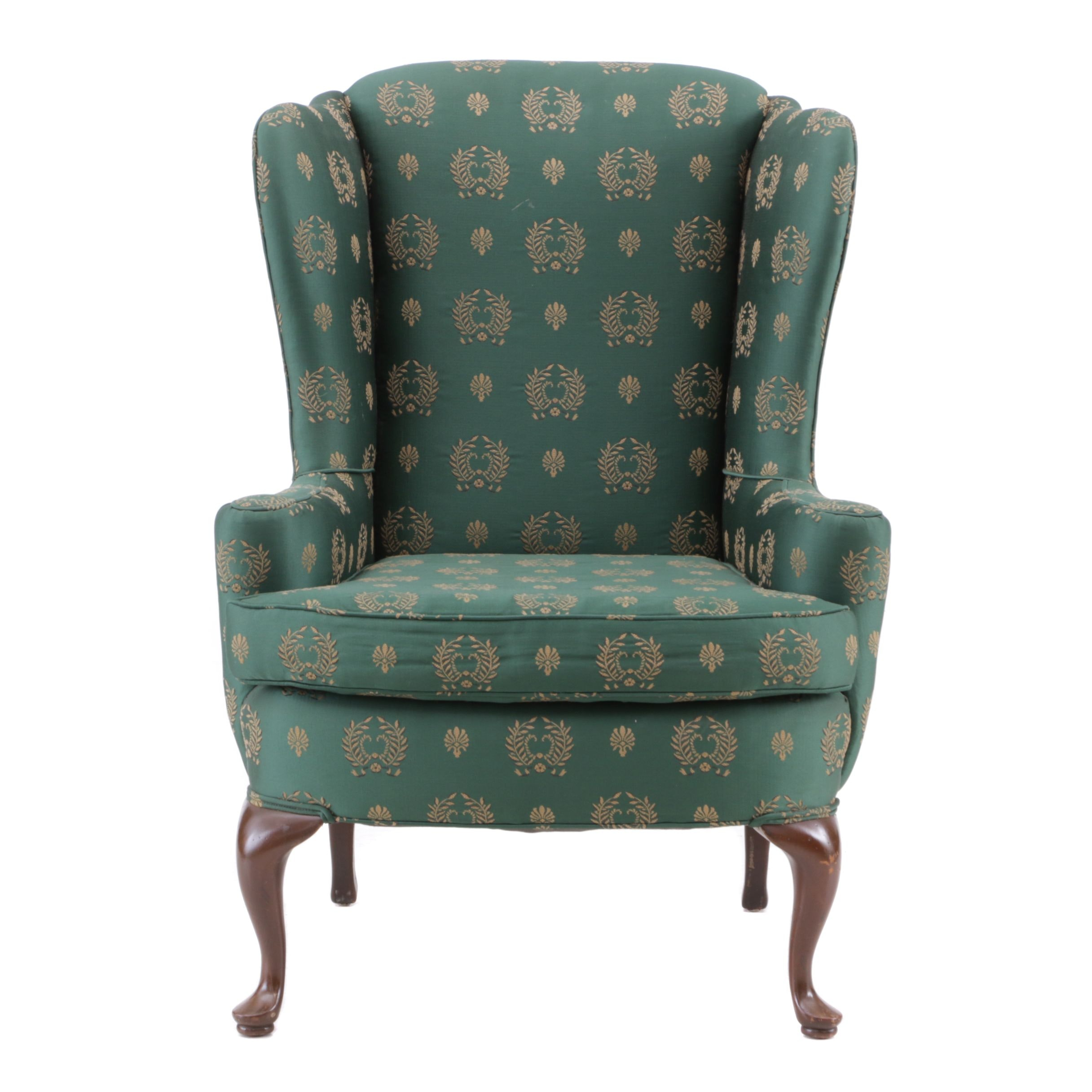 Queen Anne Style Upholstered Wingback Chair, Late 20th Century