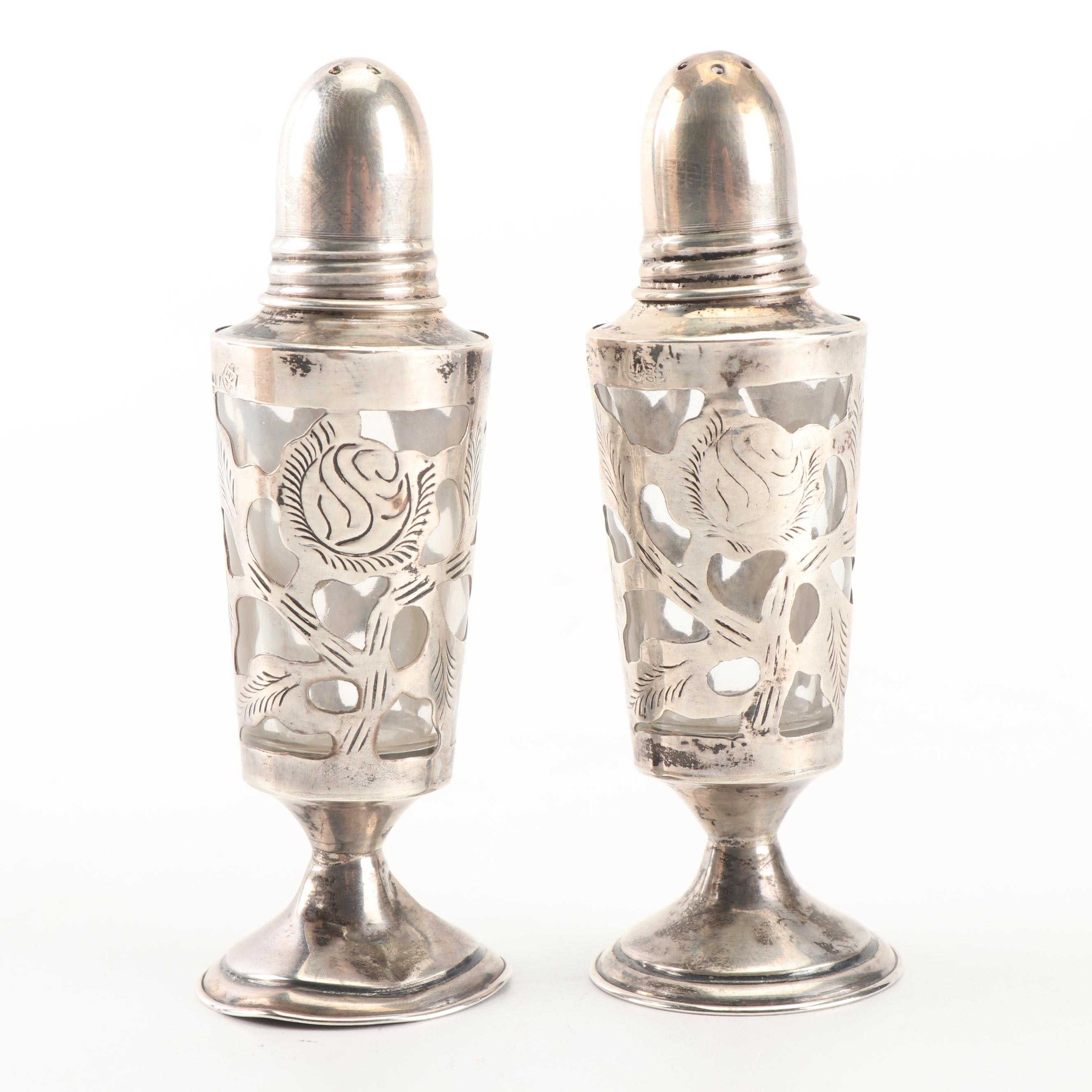 Mexican Sterling Silver Salt and Pepper Shaker Set