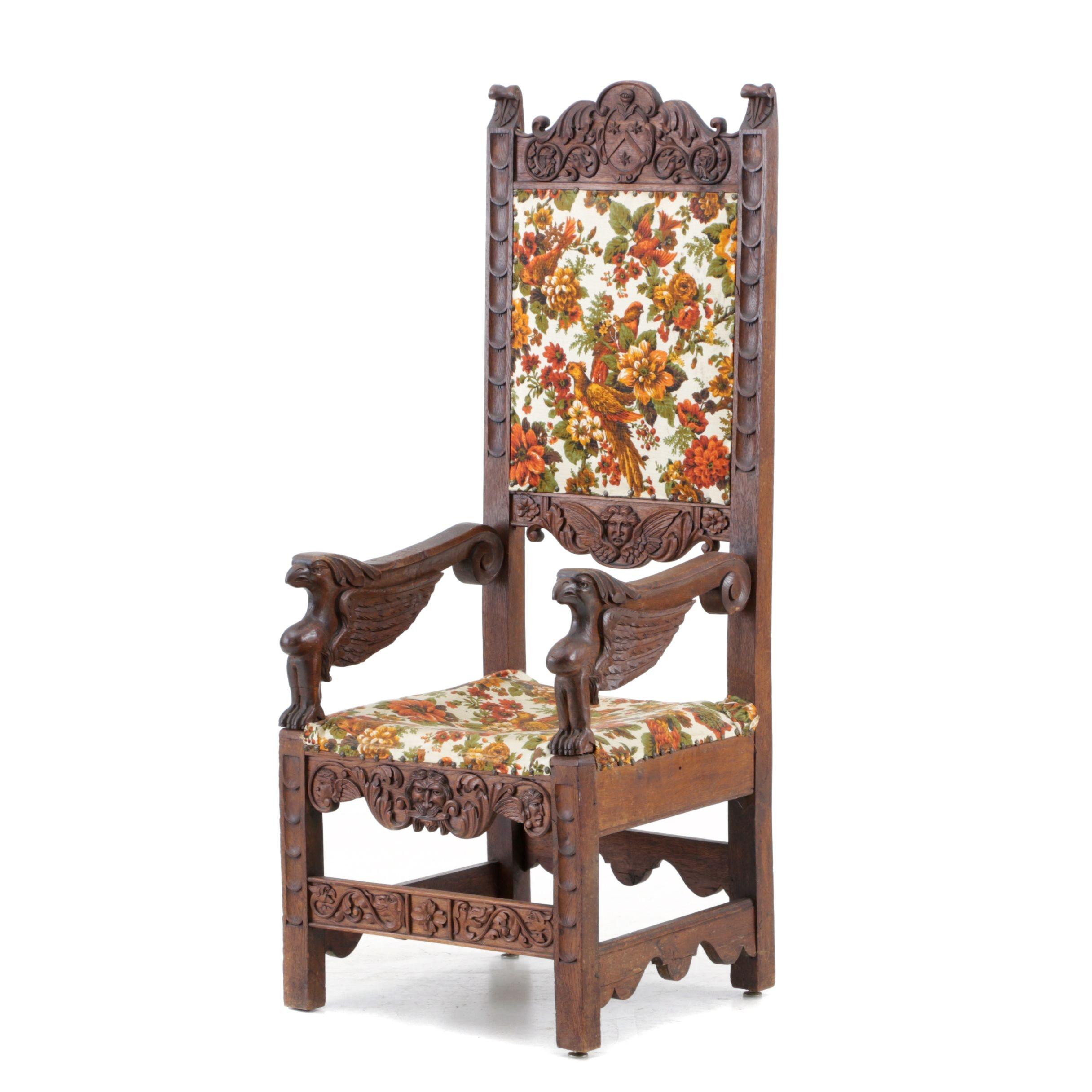 Italian Renaissance Revival Oak Chair, Mid-19th Century