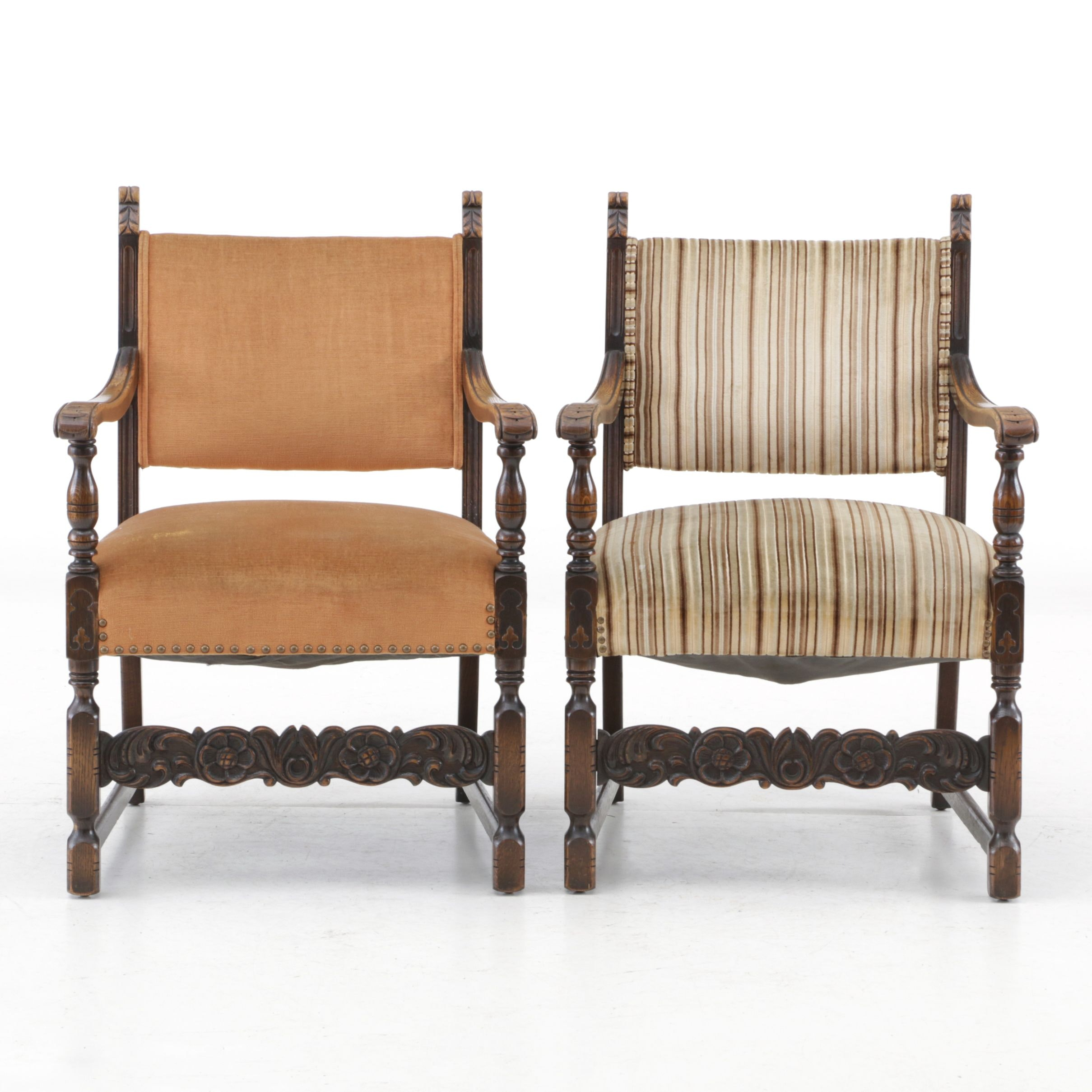 Jacobean Revival Upholstered Oak Armchairs, Early 20th Century
