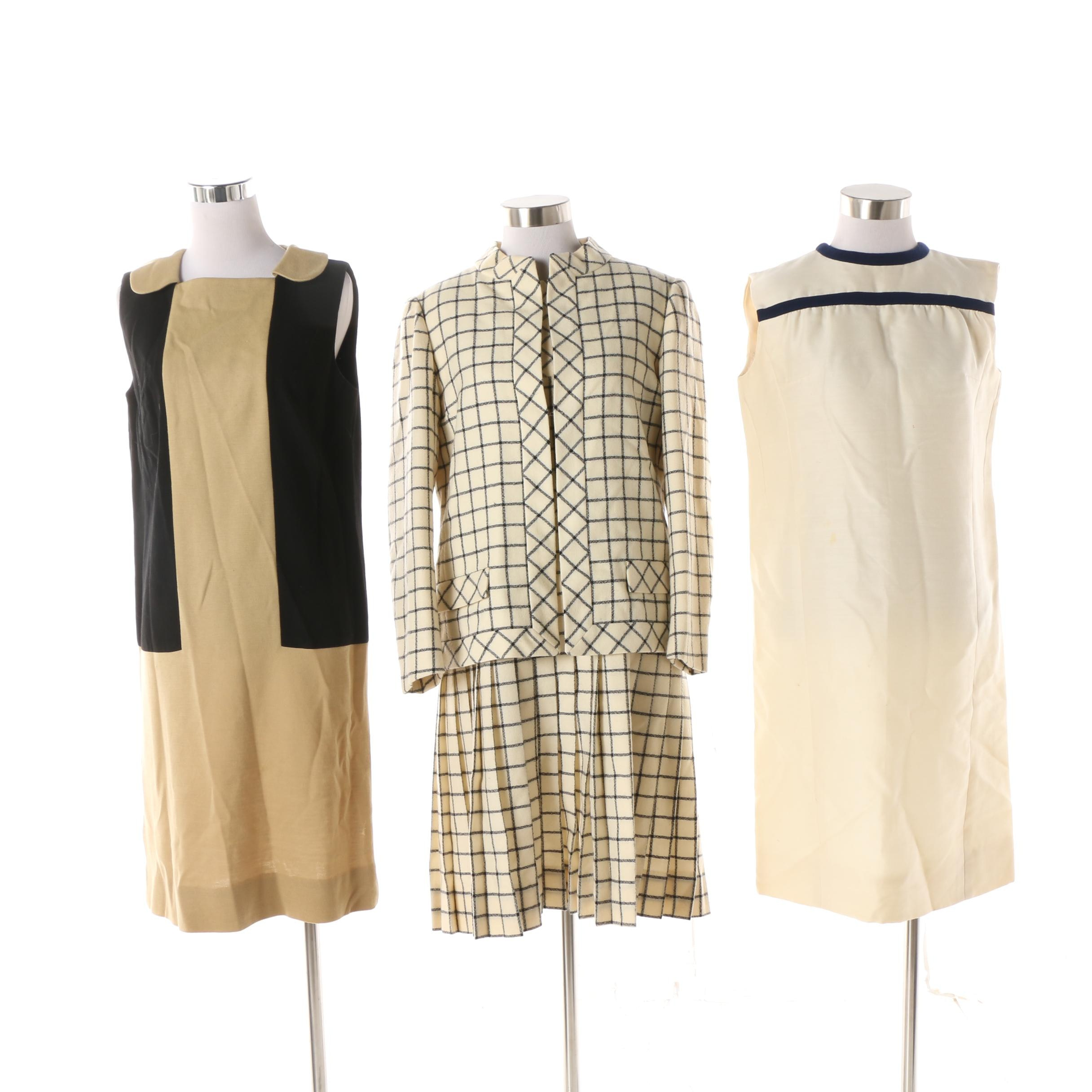 Circa 1960s Sleeveless Shift Dresses and Dress Suit