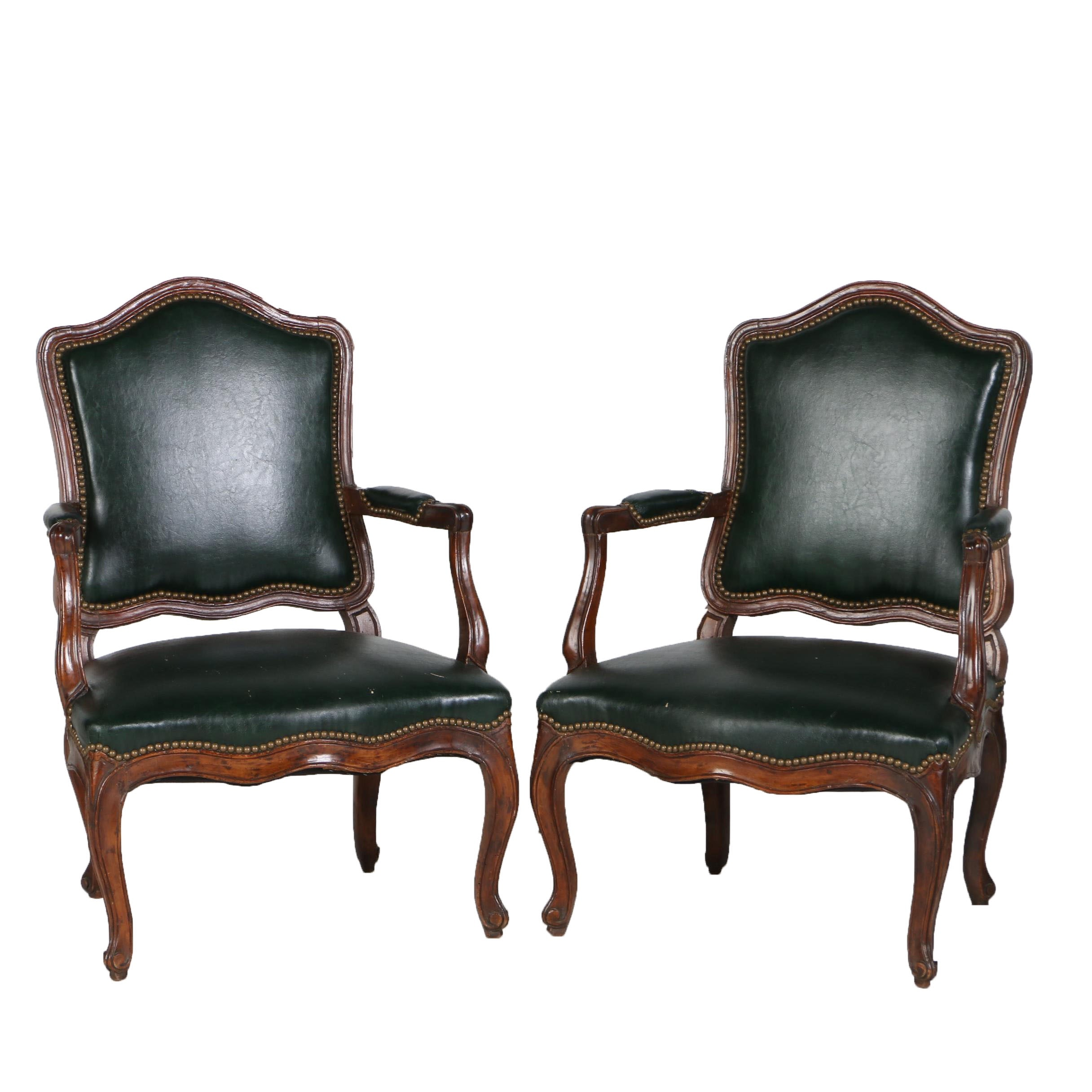 Pair of Louis XV Walnut Fauteuils à la Reine