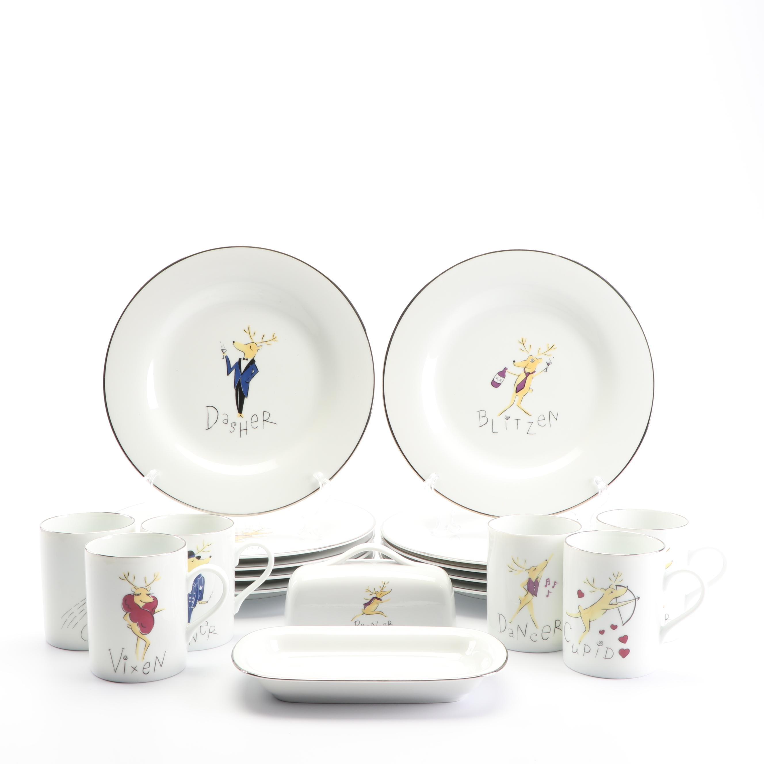 """Pottery Barn """"Reindeer"""" Ceramic Tableware"""
