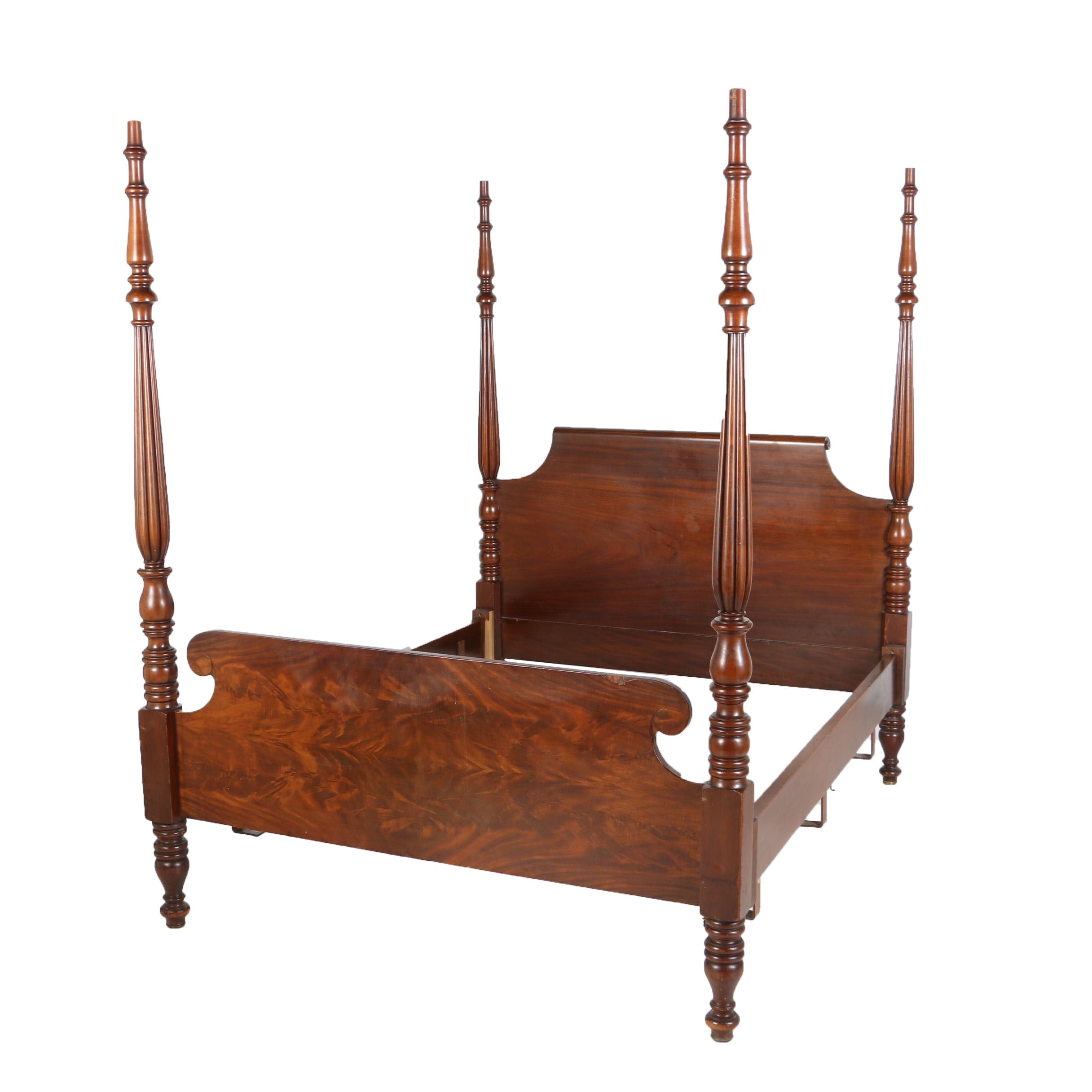 George III Style Mahogany Four-Post Queen Size Bed Frame, 20th Century