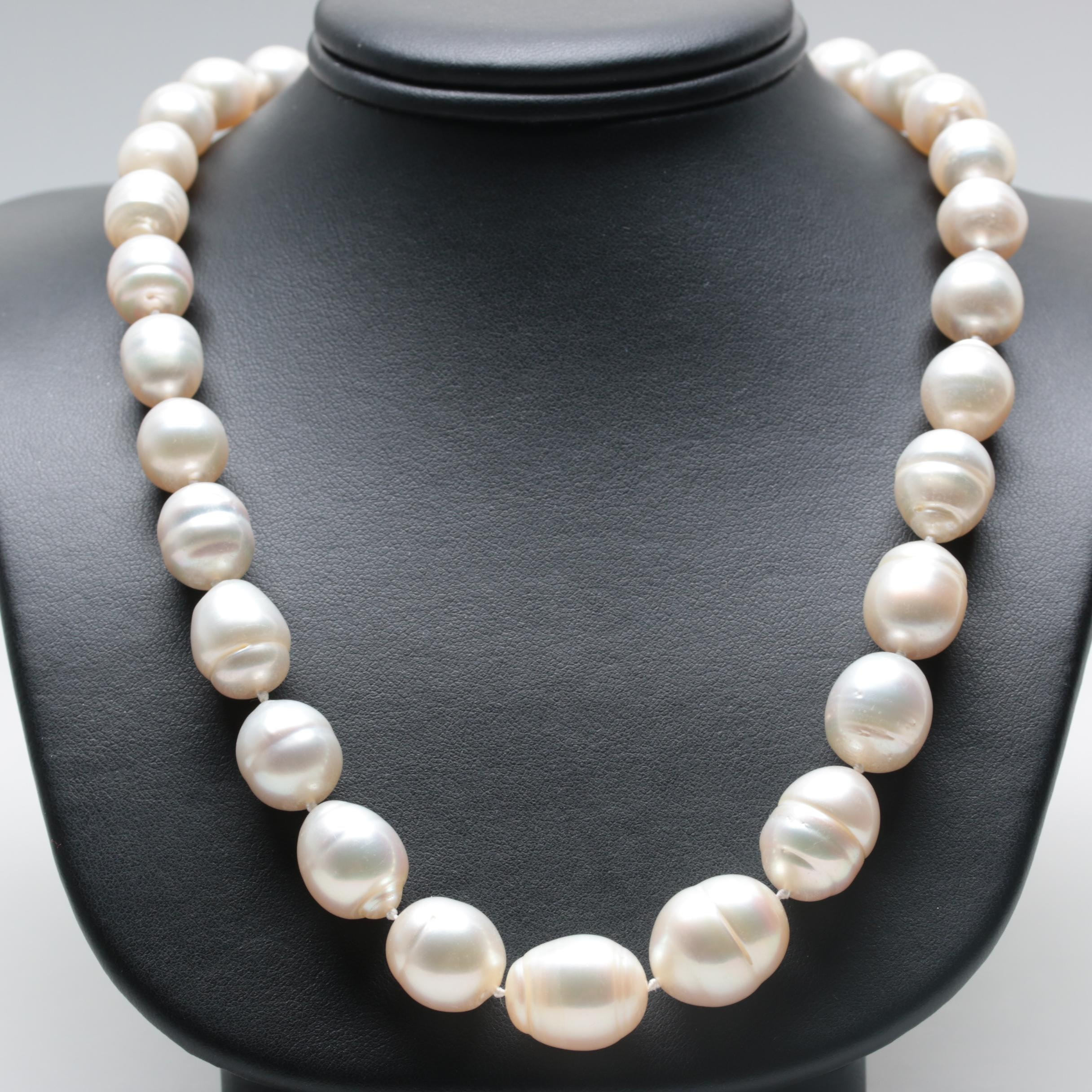 Tara & Sons 14K White Gold Cultured Baroque Pearl Necklace with Diamond Clasp