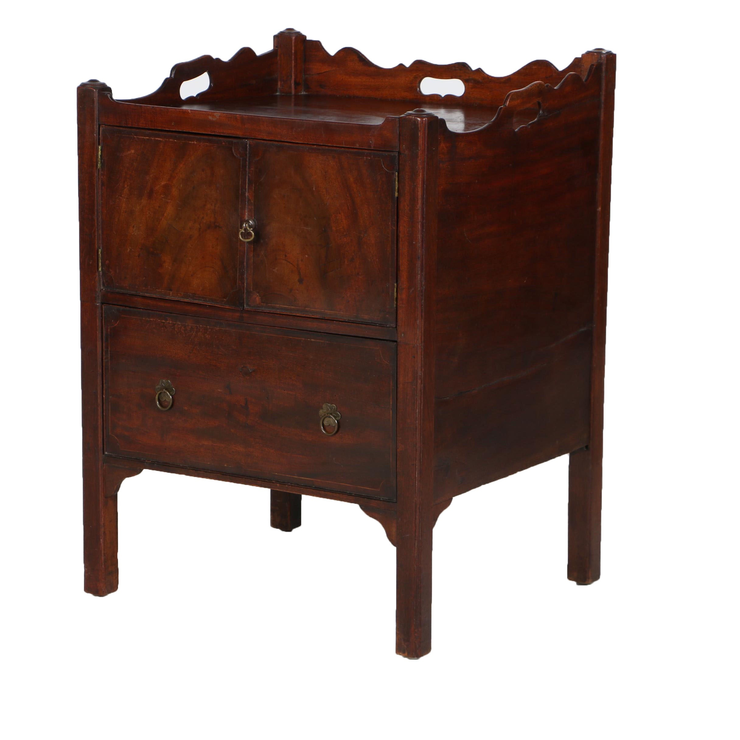 George III String-Inlaid Mahogany Bedside Cabinet, Late 18th Century