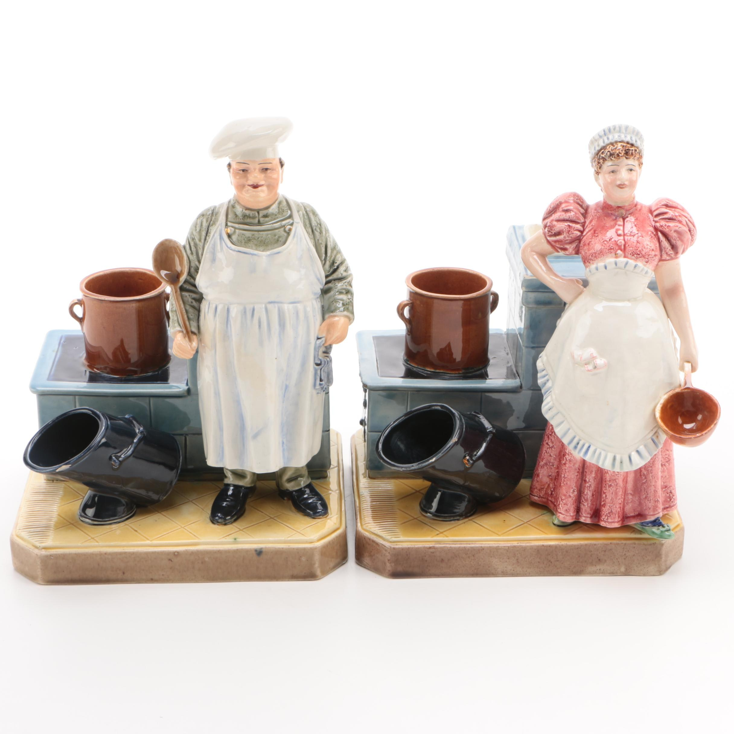 Figural Ceramic Cookie Jars Depicting Cooks in the Kitchen