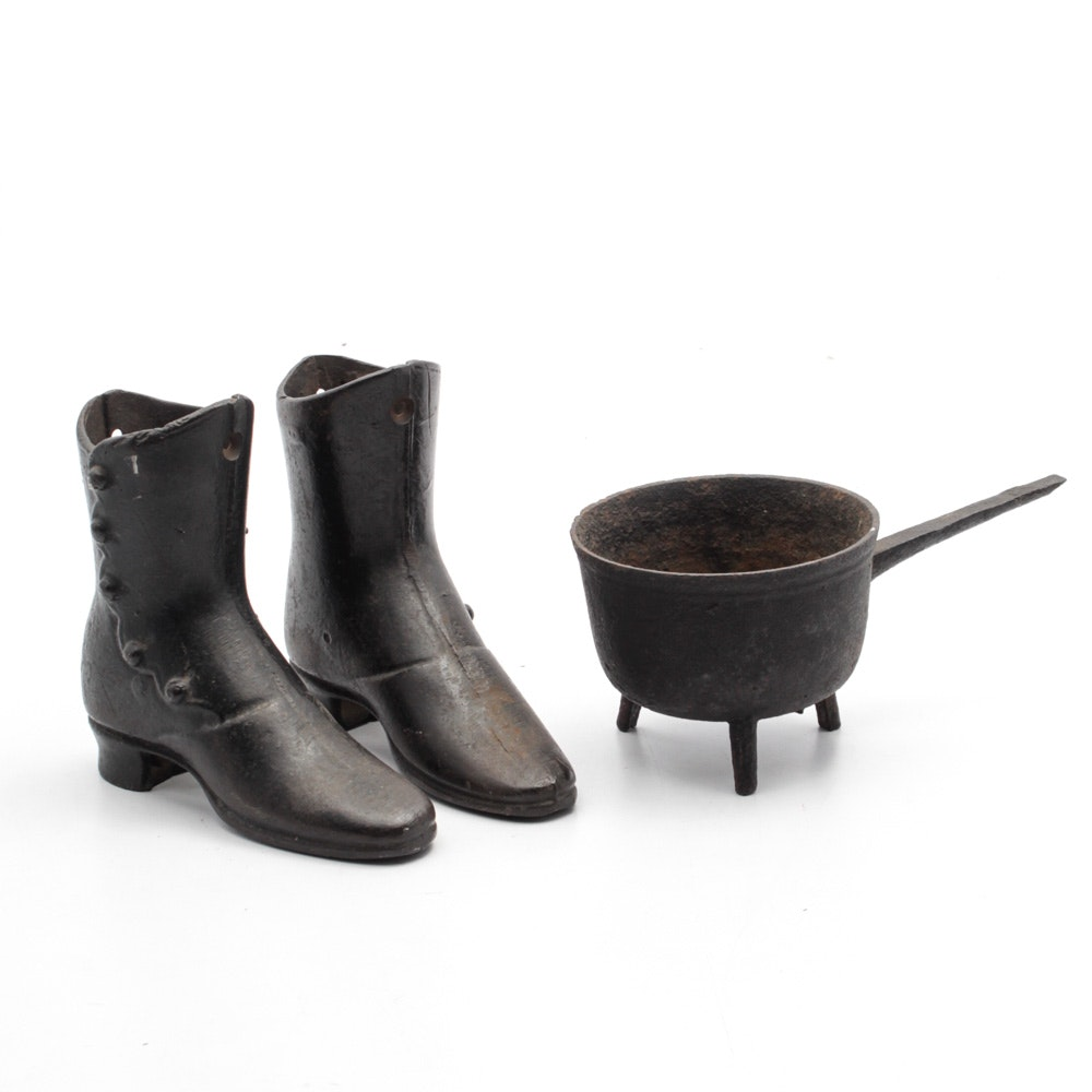 Cast Iron Boot Doorstops and Footed Pot