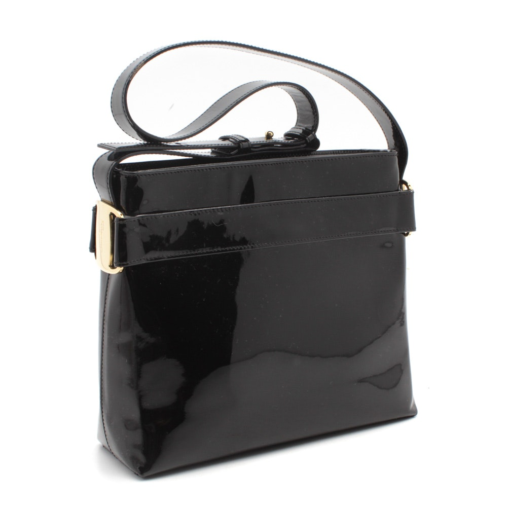 Salvatore Ferragamo Black Patent Leather Top Handle Bag
