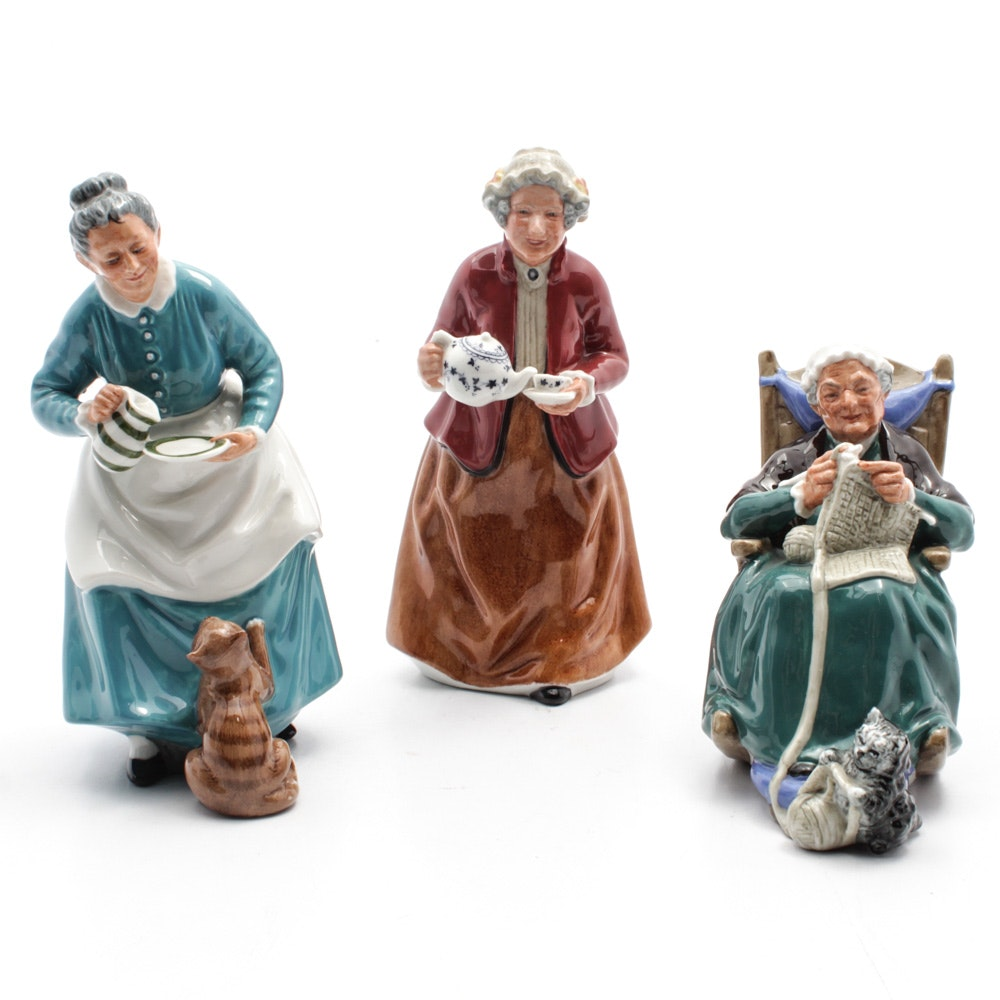 """Royal Doulton """"Twilight"""", """"Teatime"""" and """"The Favourite"""" Figurines"""