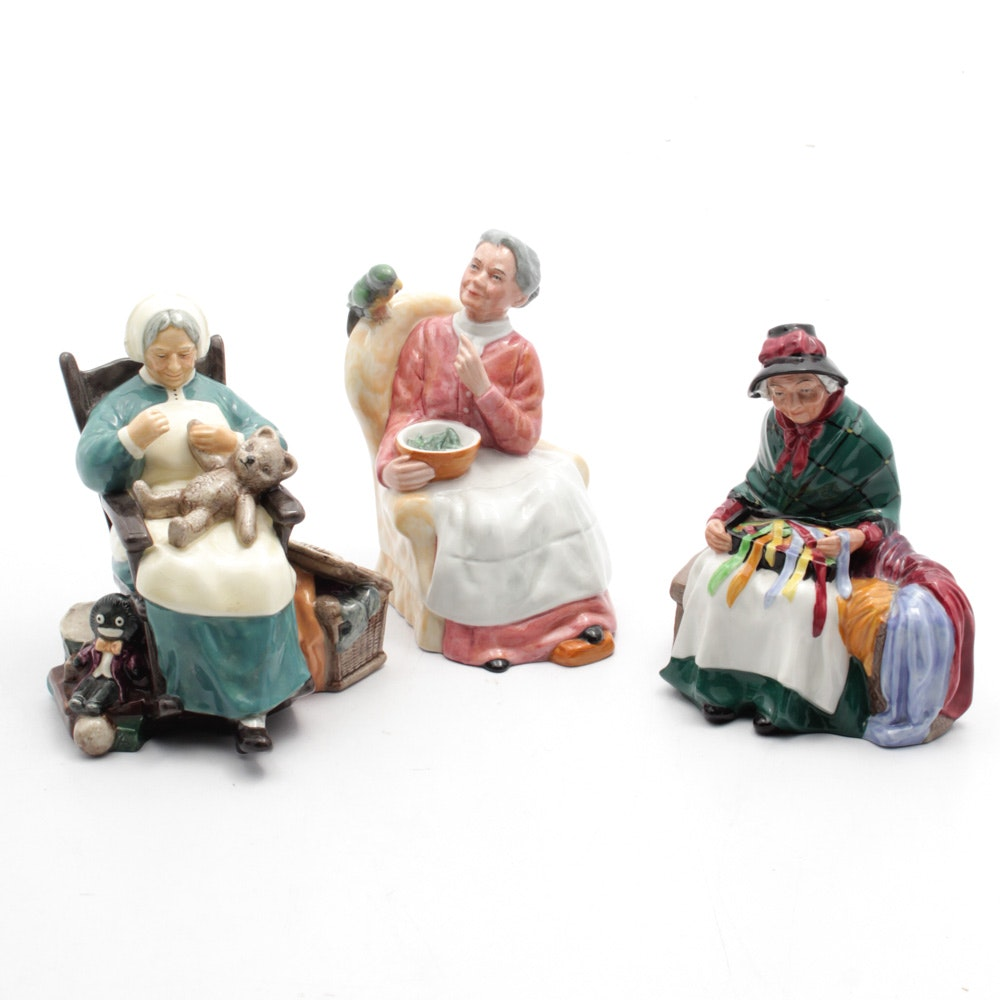 """Royal Doulton """"Silks and Ribbons"""", """"Pretty Polly"""" and """"Nanny"""" Figurines"""