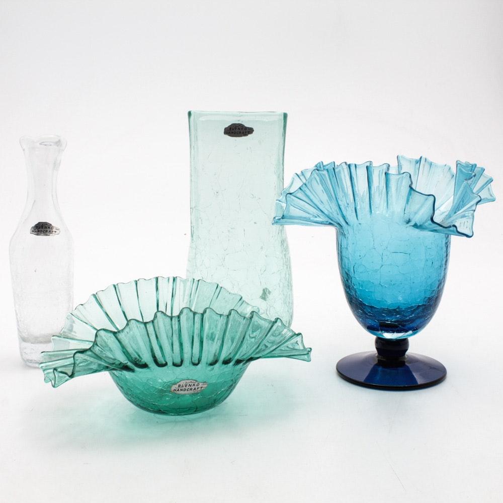 Blenko Crackle Glass Vases