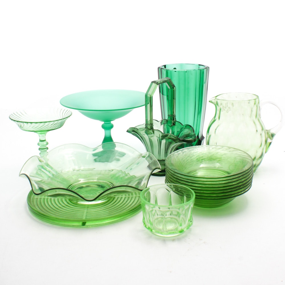 Green Glass Decorative Tableware Collection