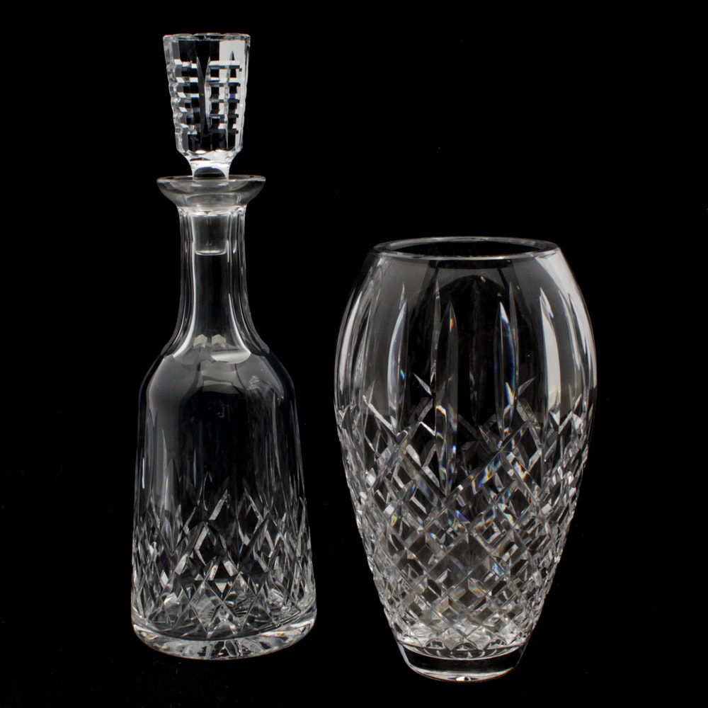 """Waterford Crystal """"Lismore"""" Decanter and """"Araglin"""" Vase"""