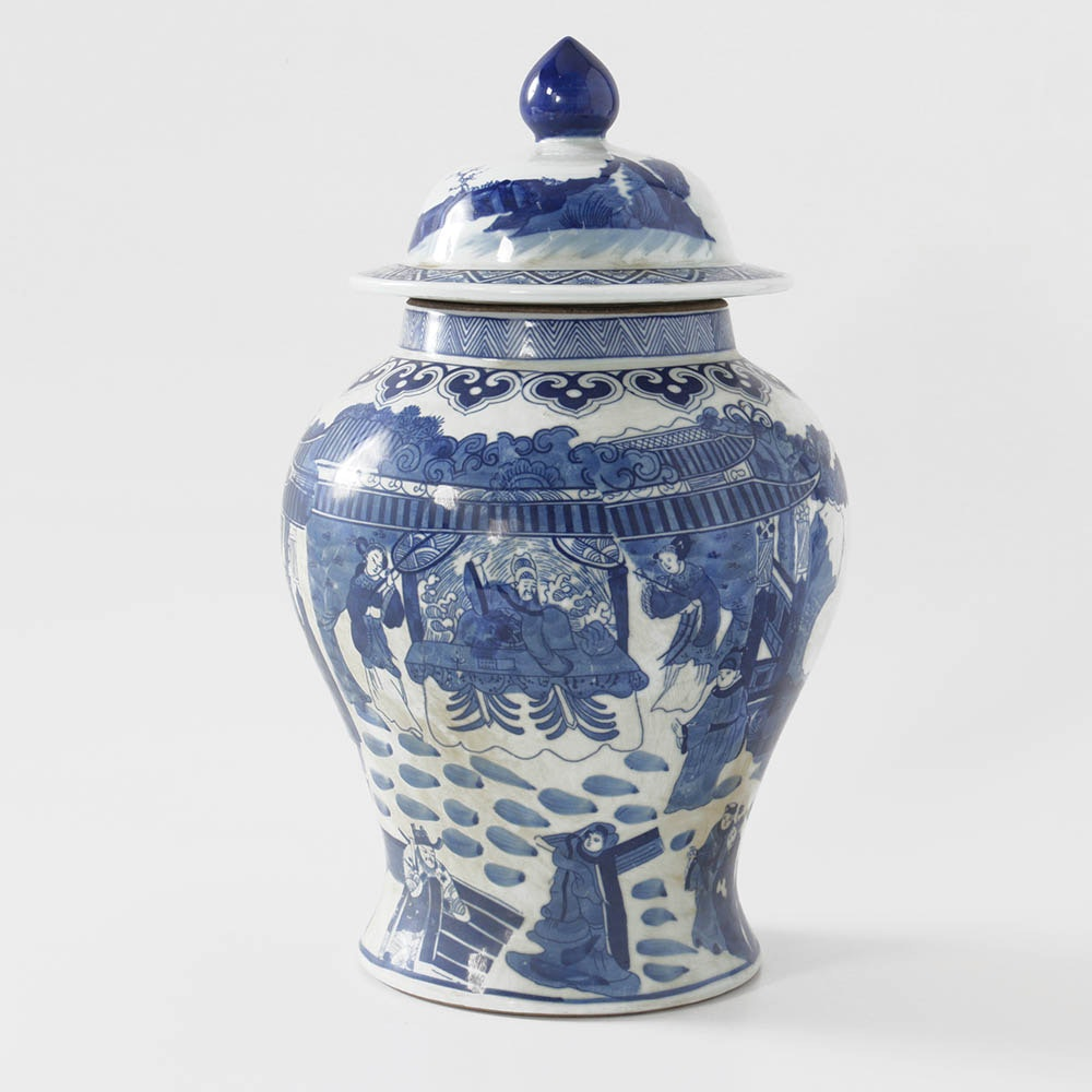 Chinese Blue and White Transferware Ginger Jar with Figural Scenes