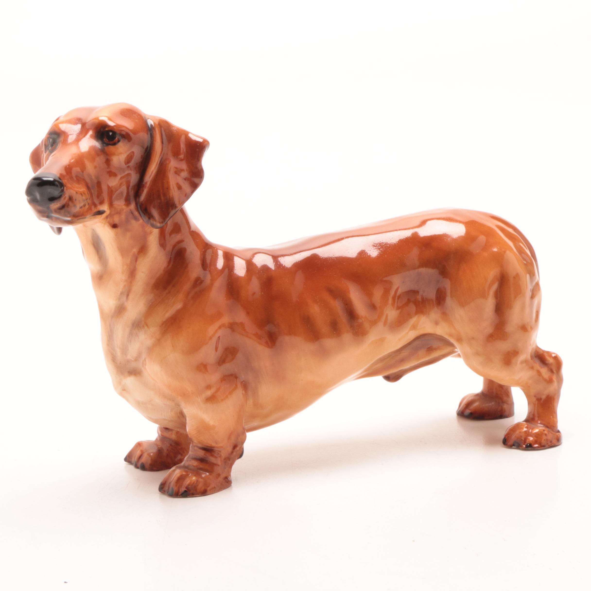 Royal Doulton Dachshund Dog Bone China Figurine