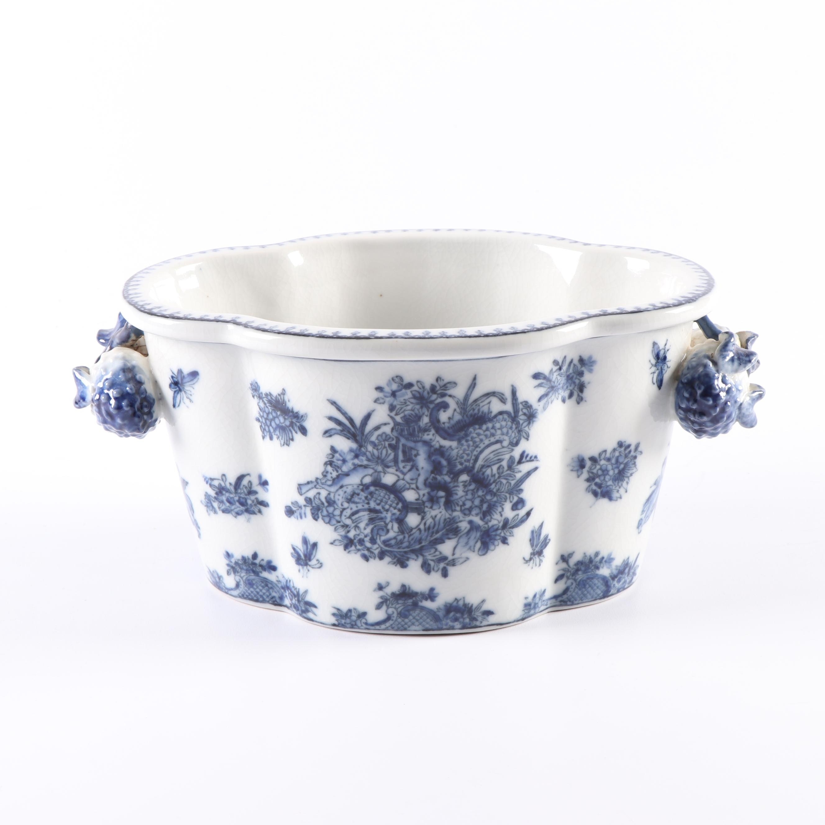 Blue and White Porcelain Cachepot