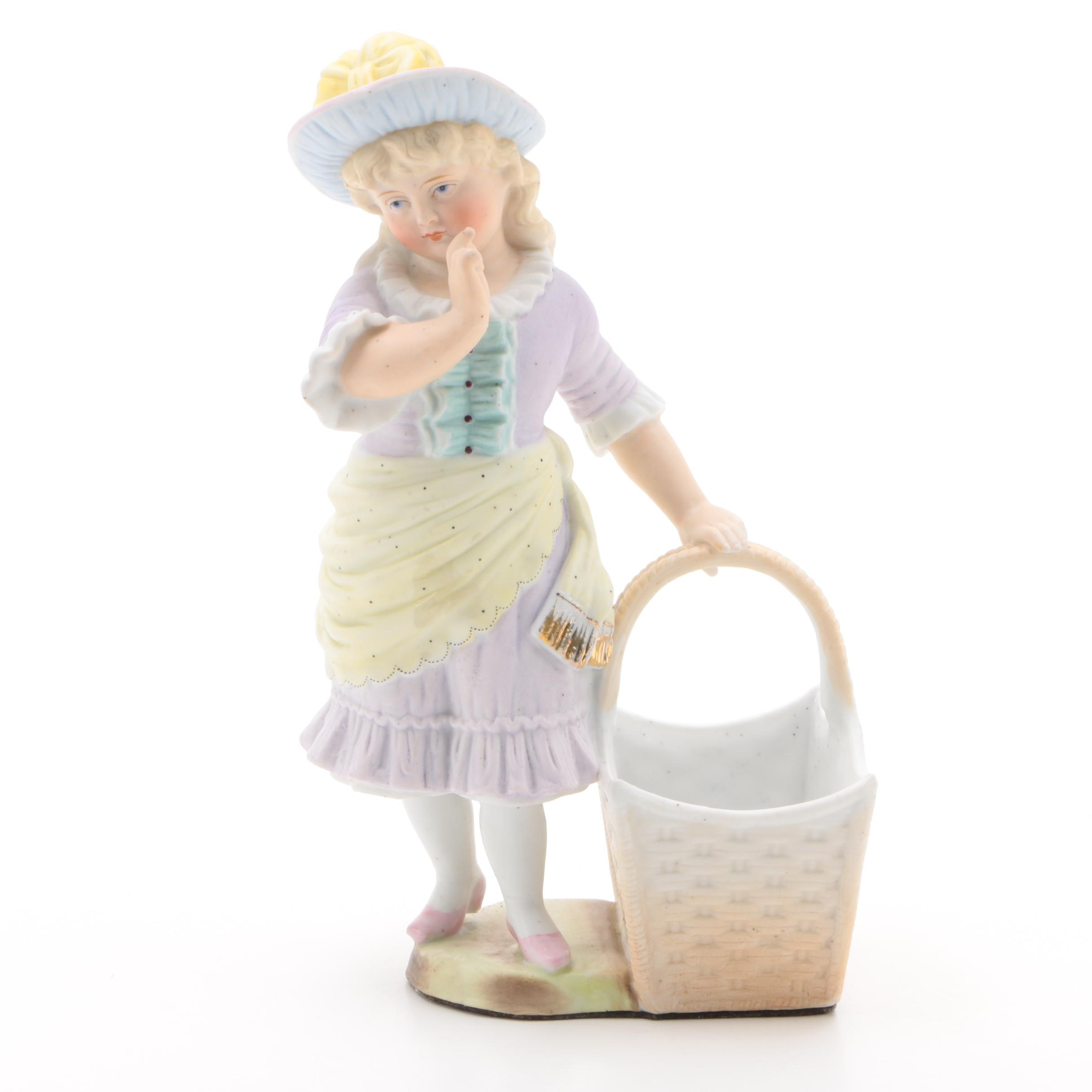 Victorian Style Girl with Open Basket Bisque Figurine