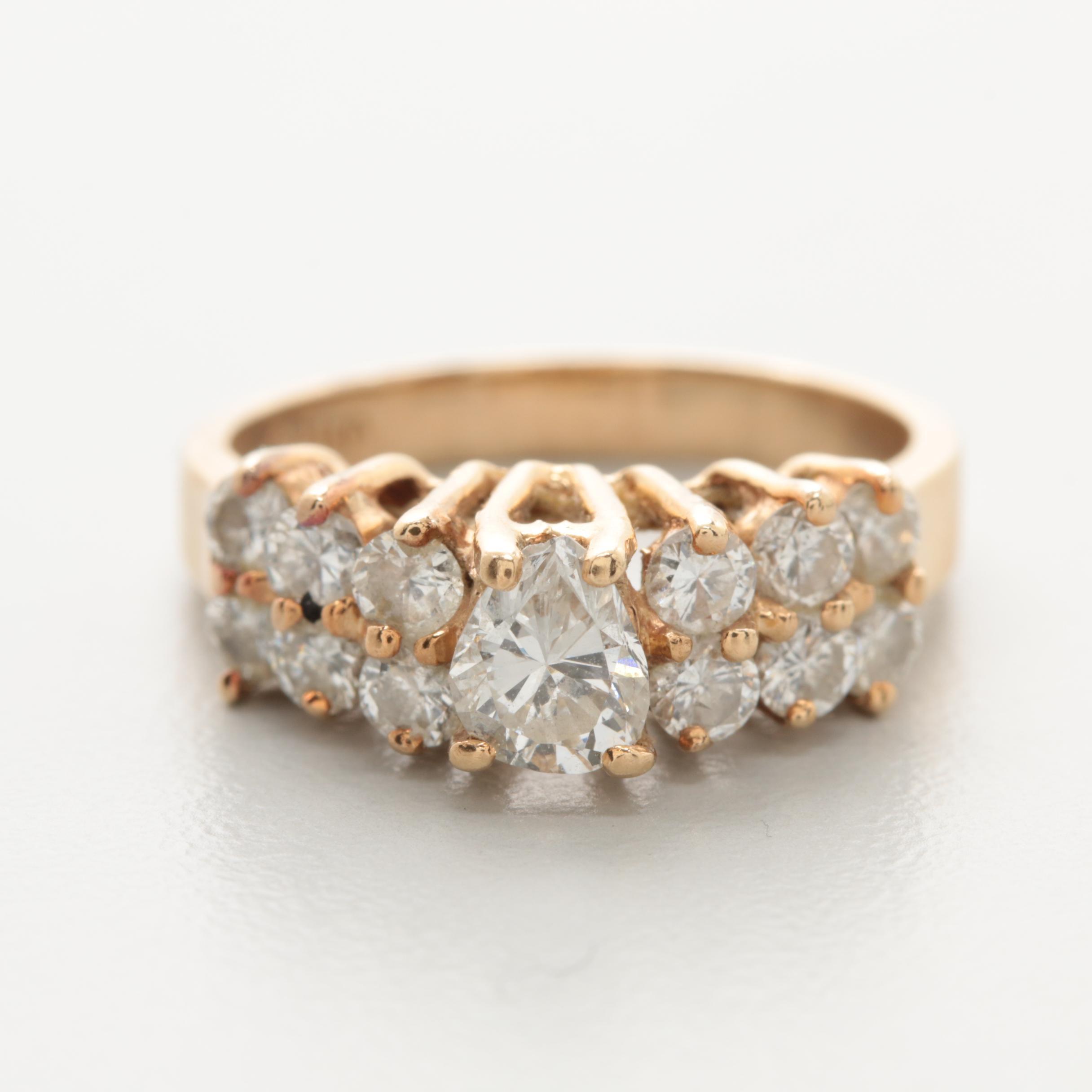 14K Yellow Gold 1.14 CTW Diamond Ring