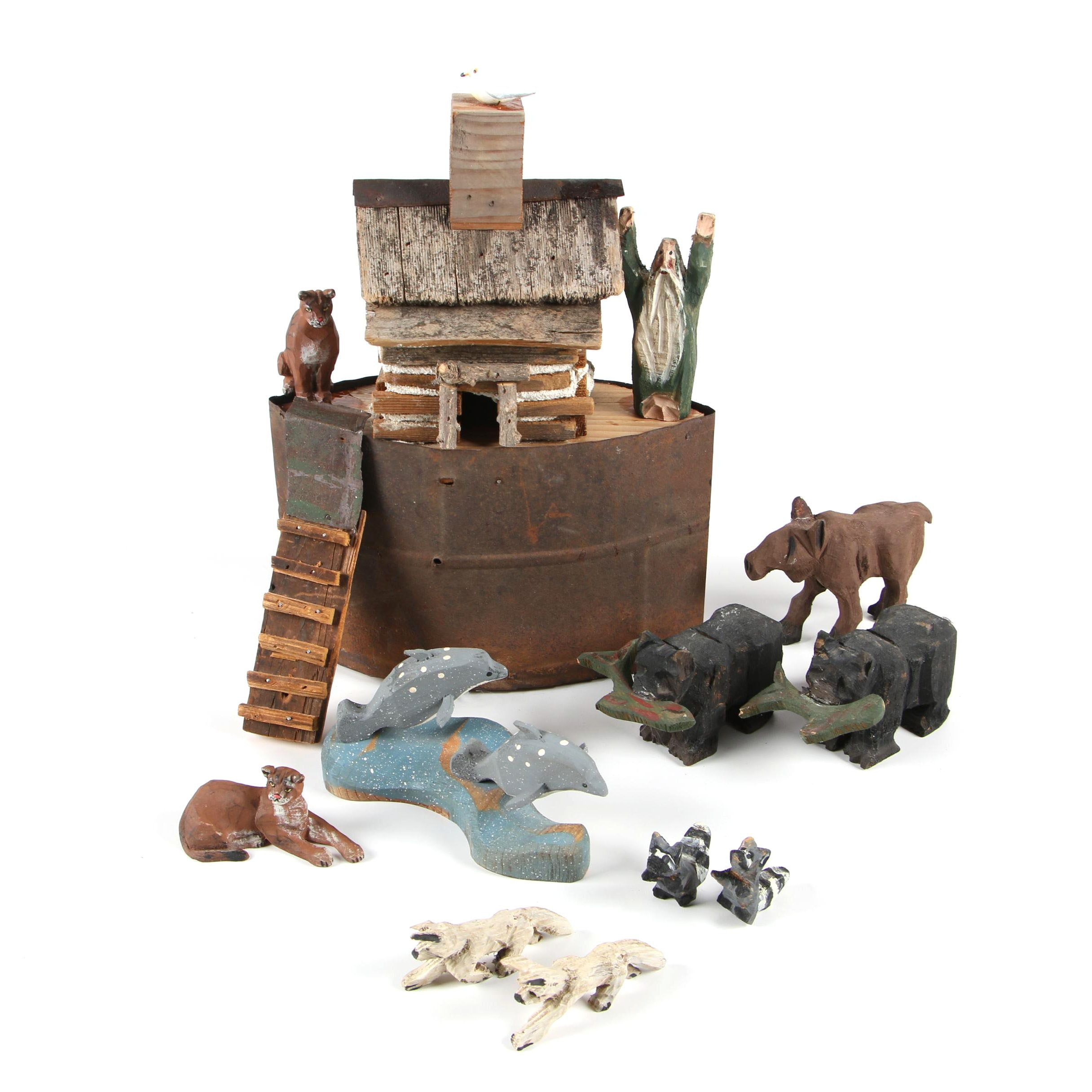 Folk Art Style Noah's Ark with Carved Wood Figurines