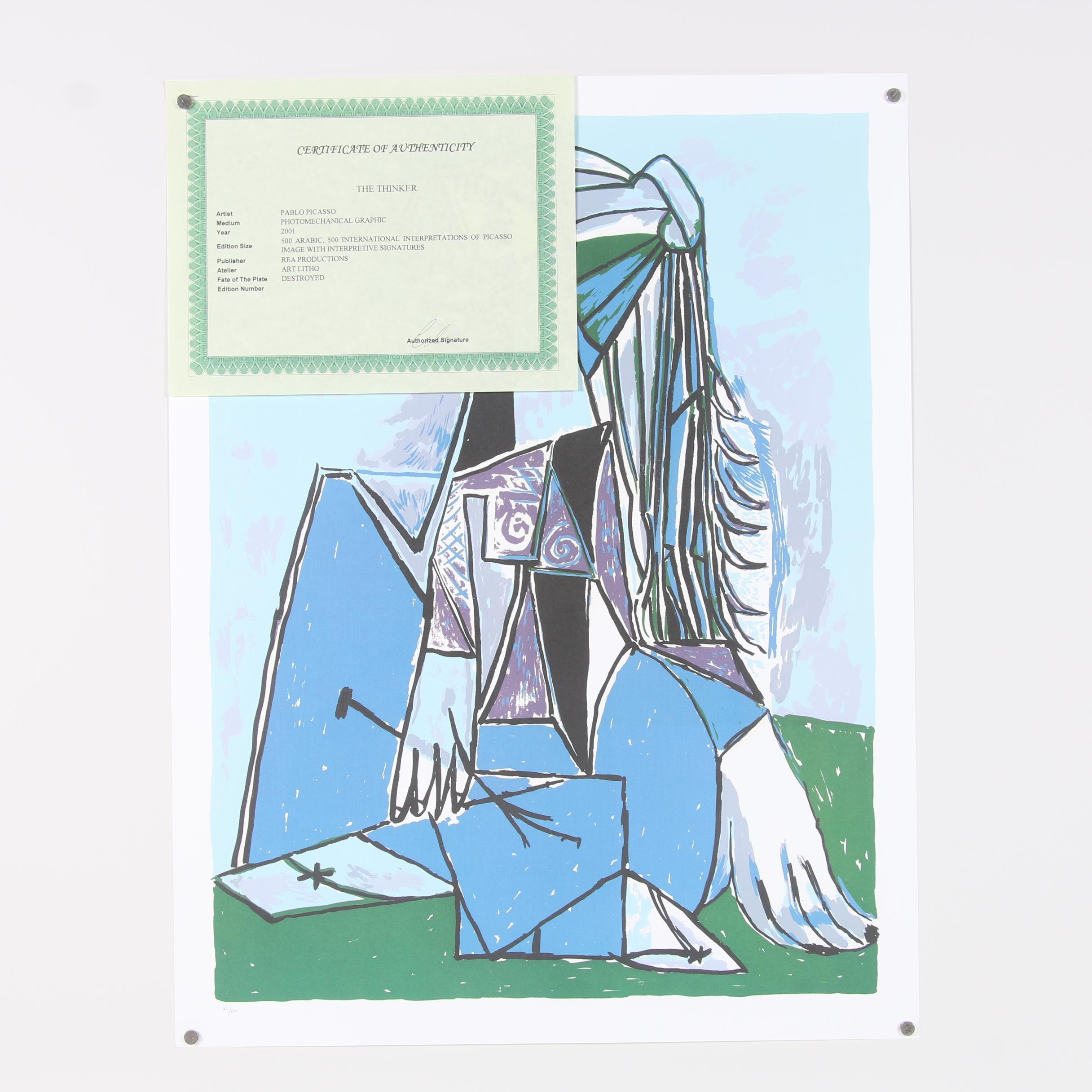 """2001 Offset Lithograph after Pablo Picasso """"The Thinker"""""""