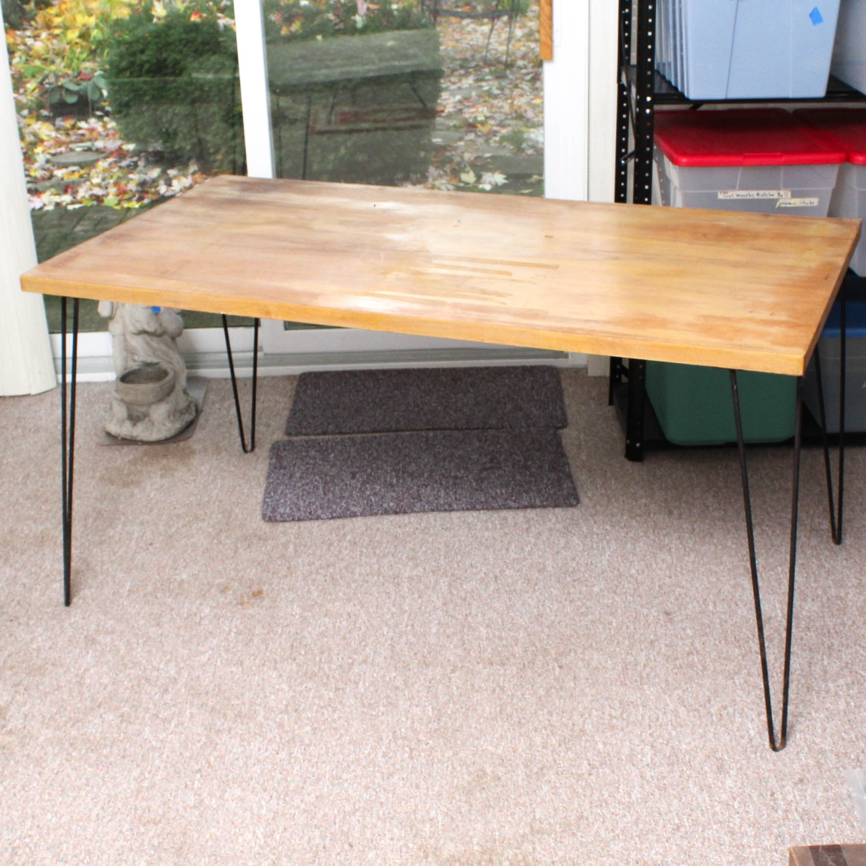 Mid Century Wood Top Dining Table with Metal Hair Pin Legs