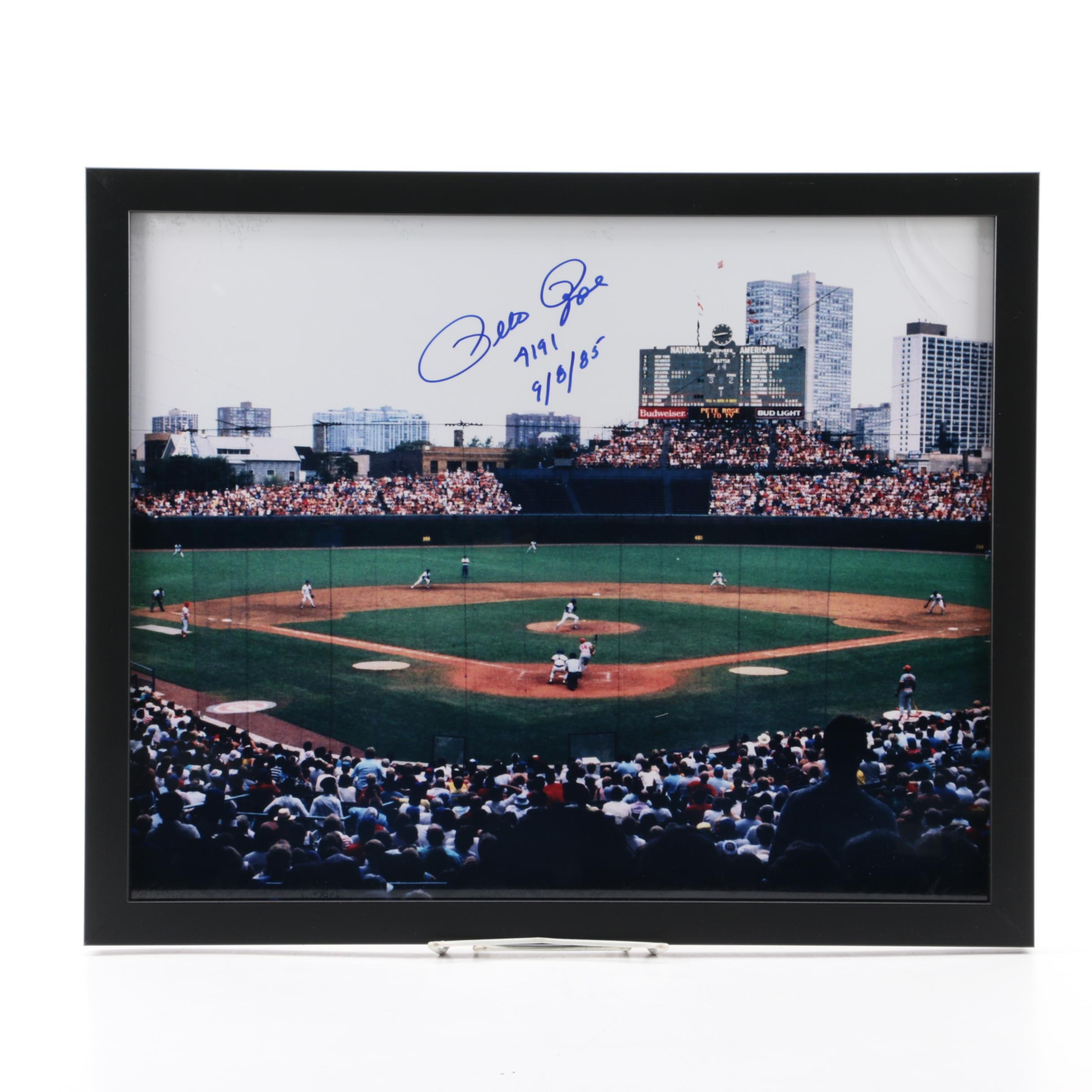 Pete Rose Autographed Photograph of Record Breaking Hit COA