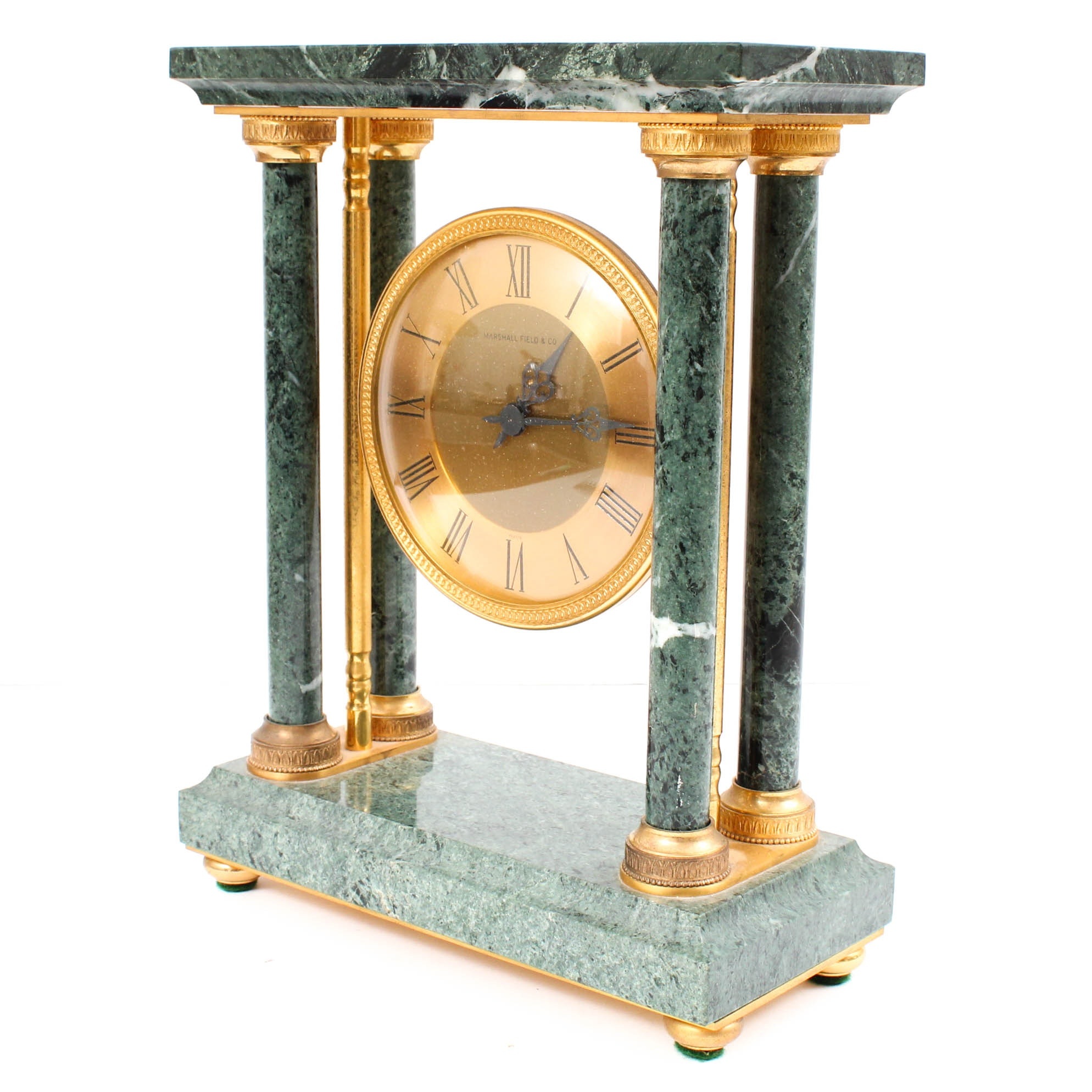 Marshall Field & Co Green Marble and Brass Mantle Clock