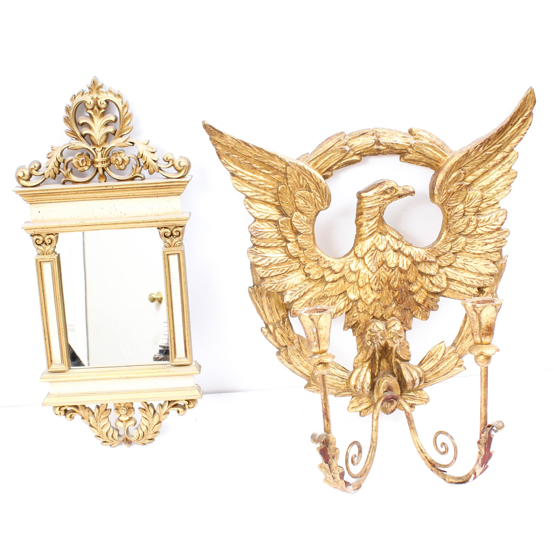 Gold Toned Wall Sconce and Neoclassical Wall Mirror
