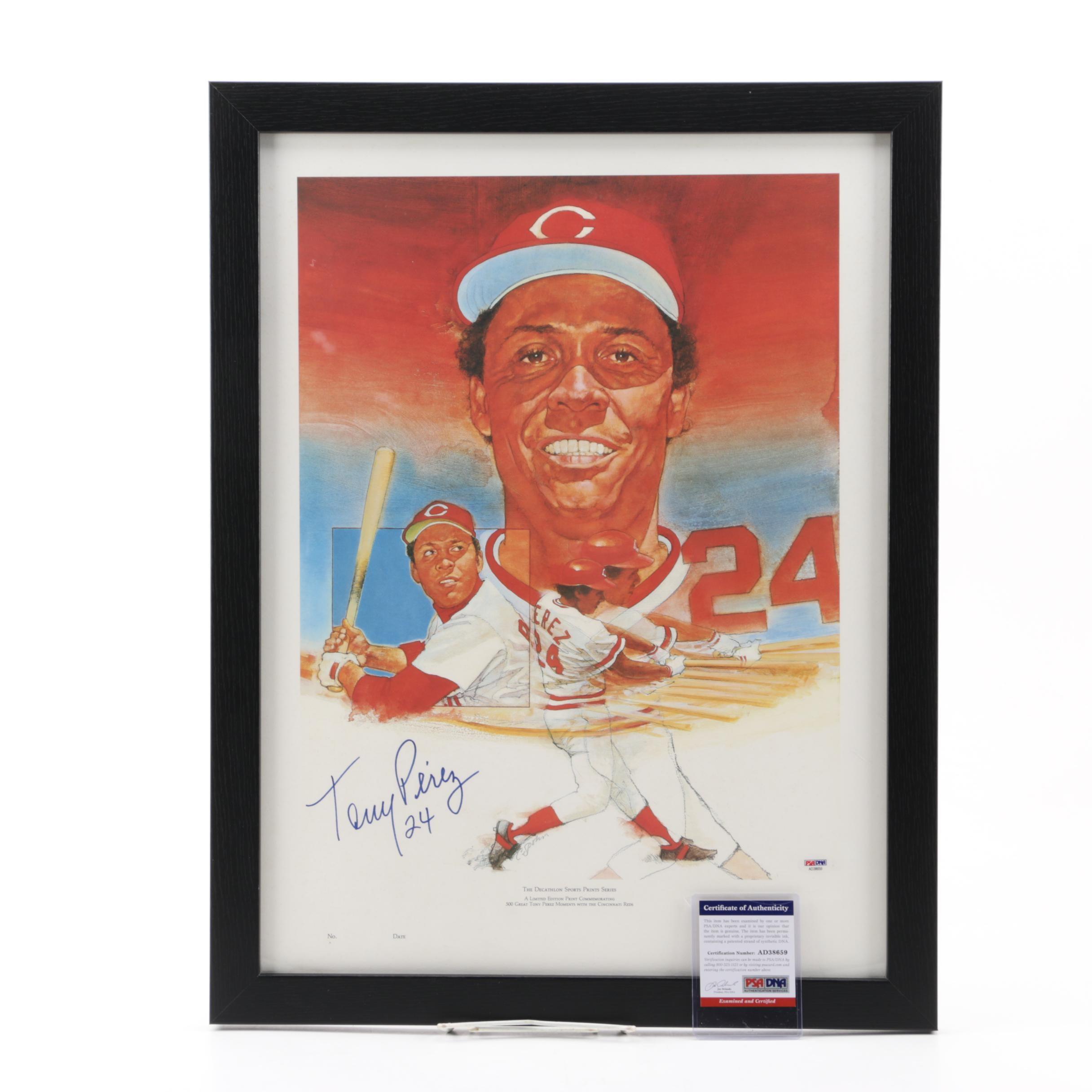Tony Perez (HOF) Autographed Lithograph, PSA/DNA COA