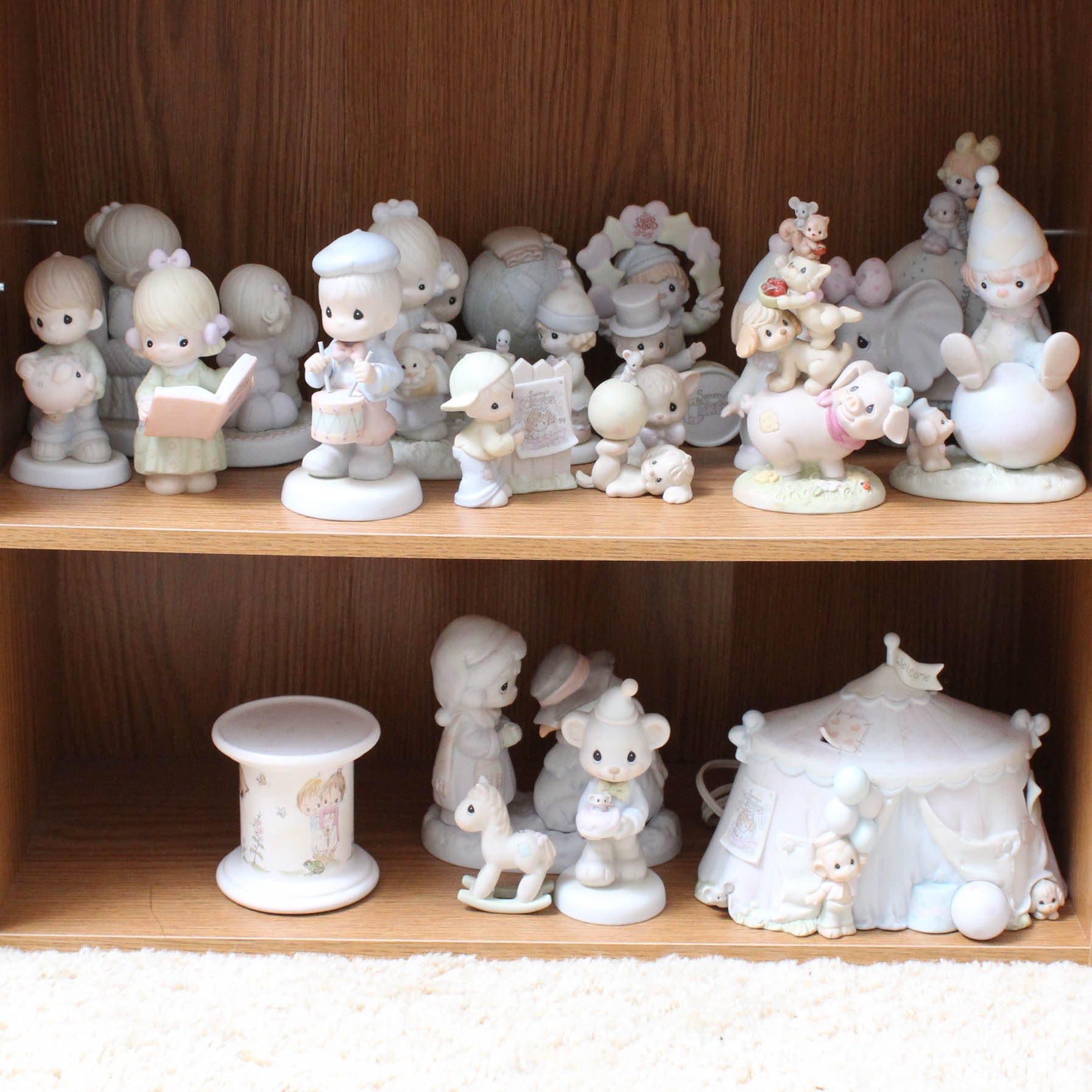 Precious Moments Figurines with Circus Tent and Elephant