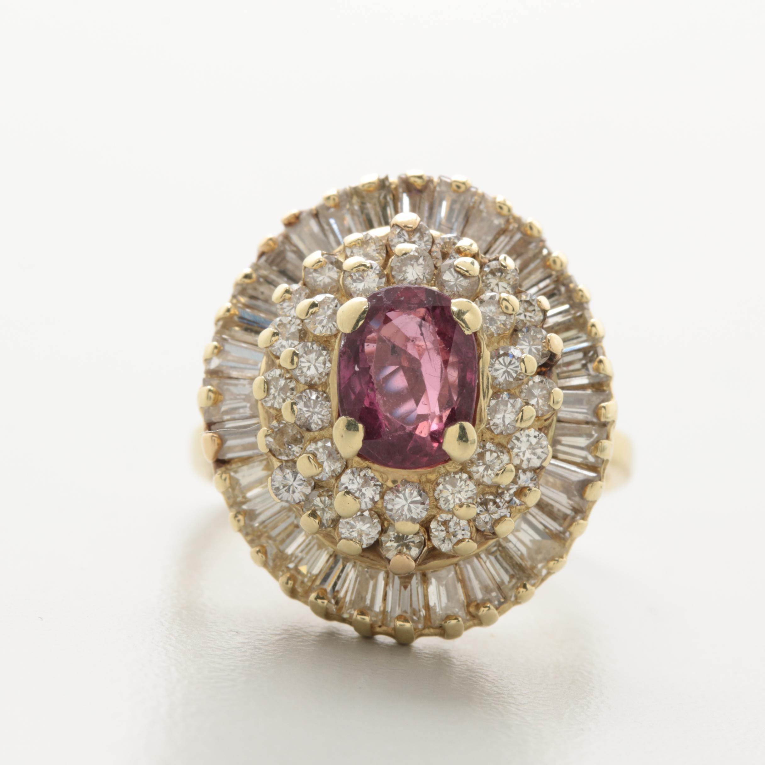 14K Yellow Gold 1.90 CTW Diamond and Ruby Ring