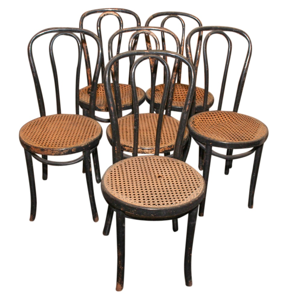 Six Bentwood with Cane Seat Parlor Chairs, Late 19th/Early 20th Century